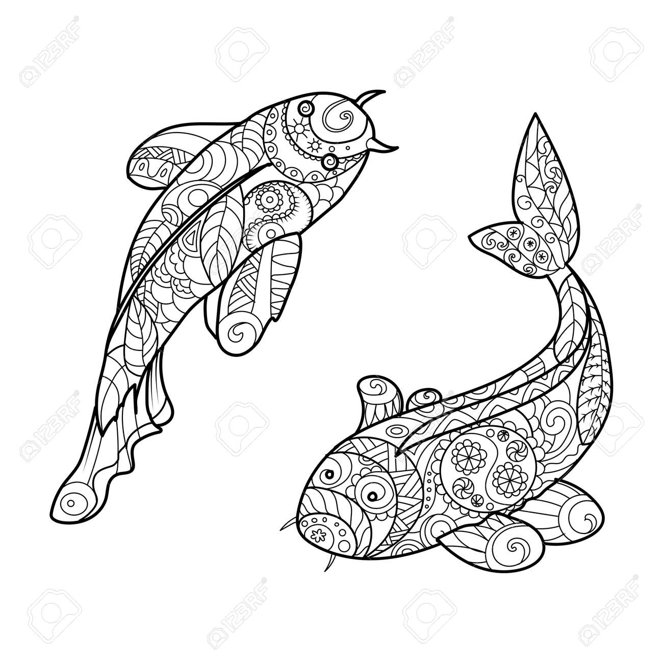 Koi Carp Fish Coloring Book For Adults Vector Illustration Stock
