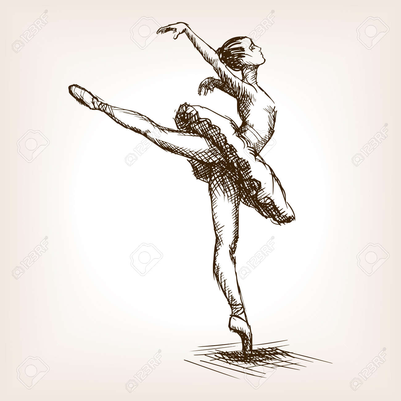 Ilustración Vectorial De Estilo De Dibujo Niña Bailarina De Ballet