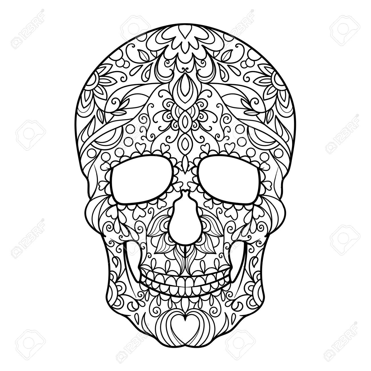 Hunan Skull Coloring Book For Adults Vector Illustration Royalty