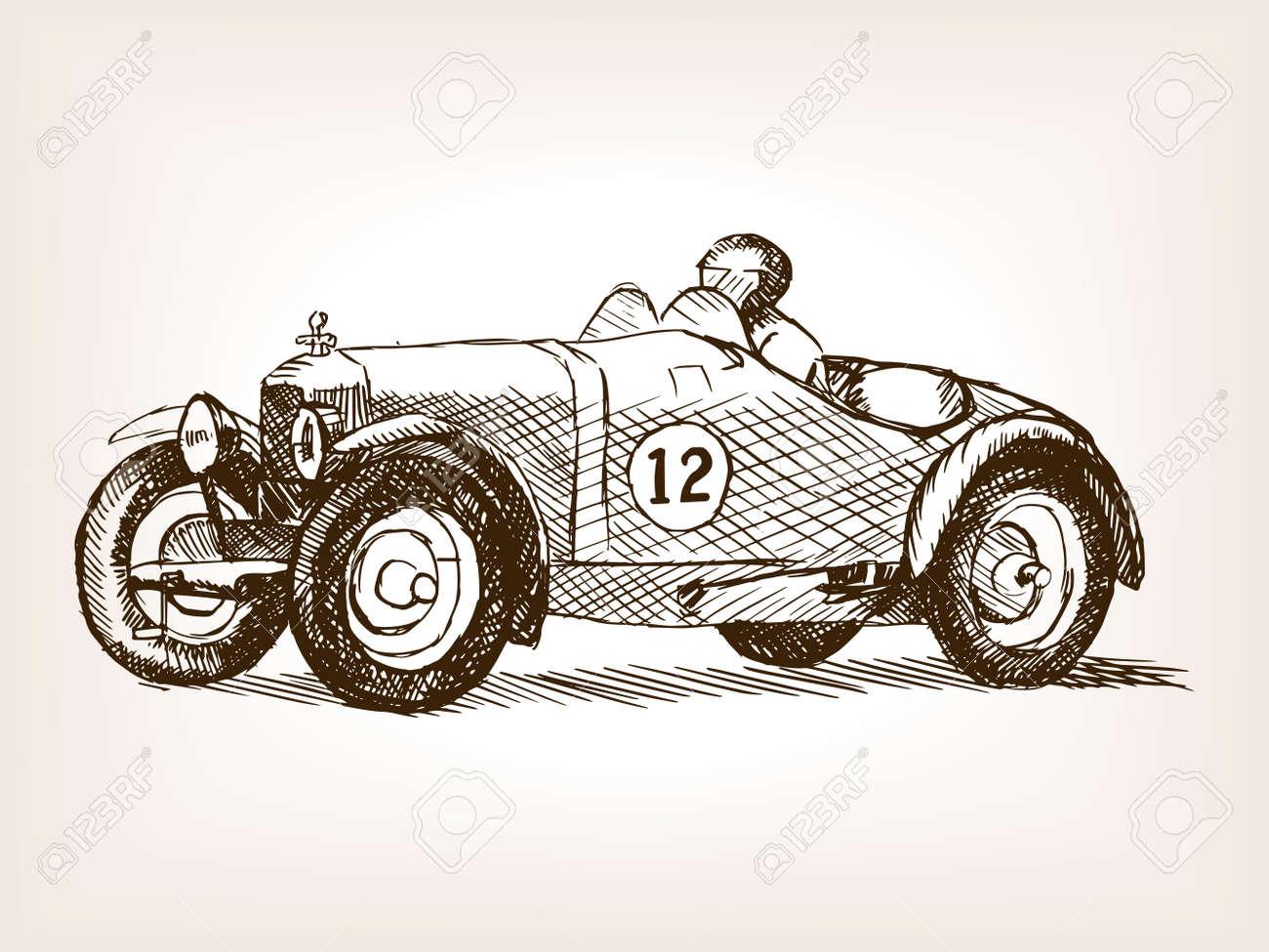 Retro Sport Race Car Vehicle Sketch Style Vector Illustration ...