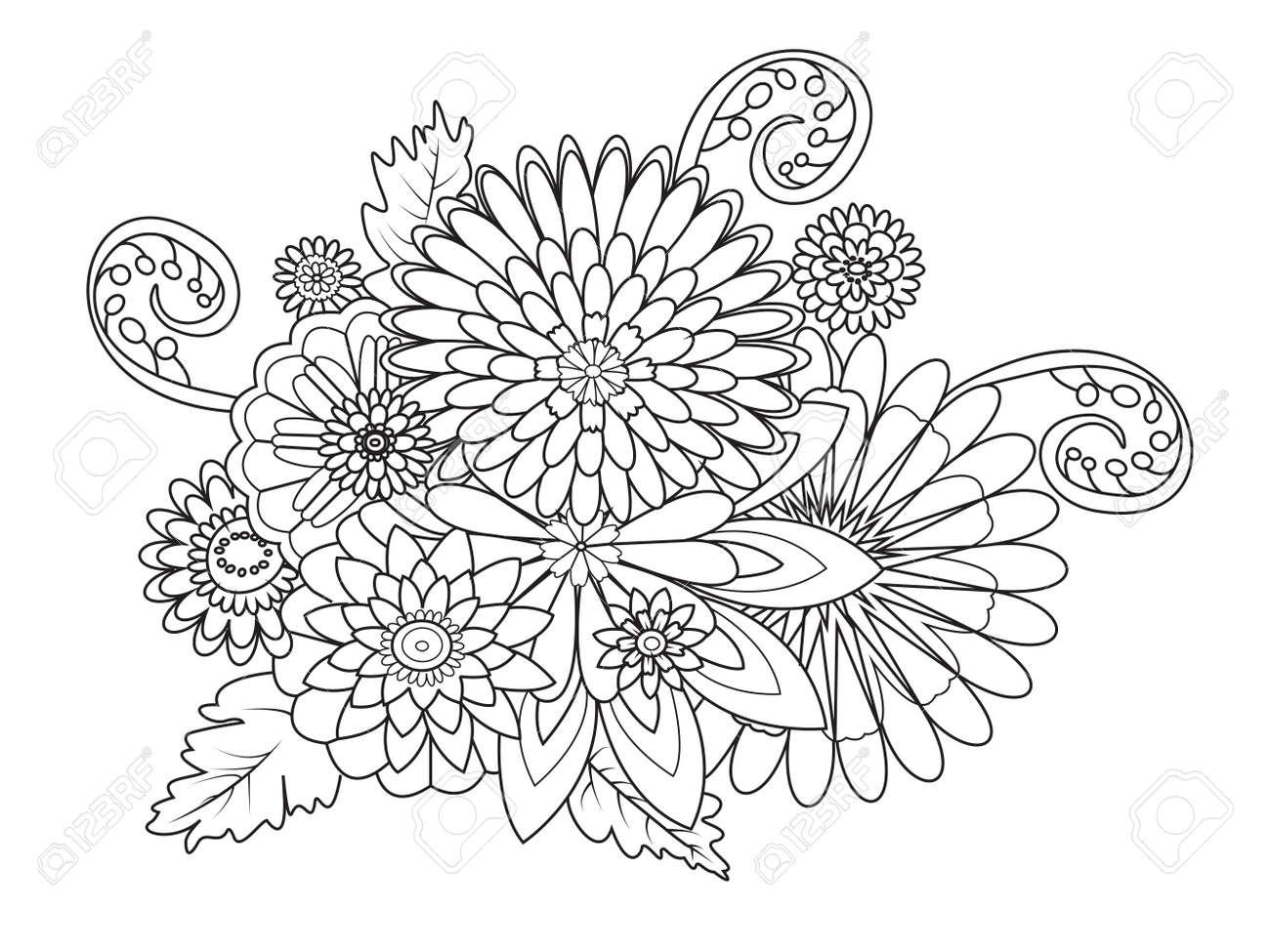 花の装飾飾り大人ベクトル イラストの塗り絵のイラスト素材ベクタ