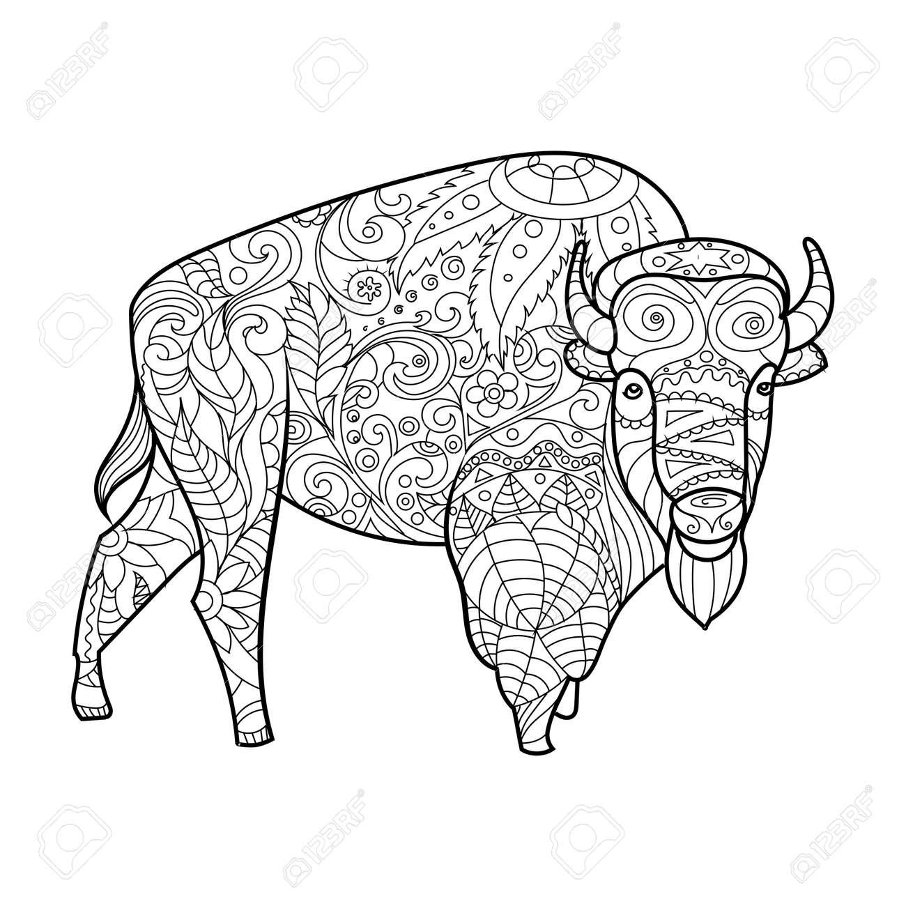 Bisontes Libro Para Colorear Animales Para La Ilustración Vectorial ...
