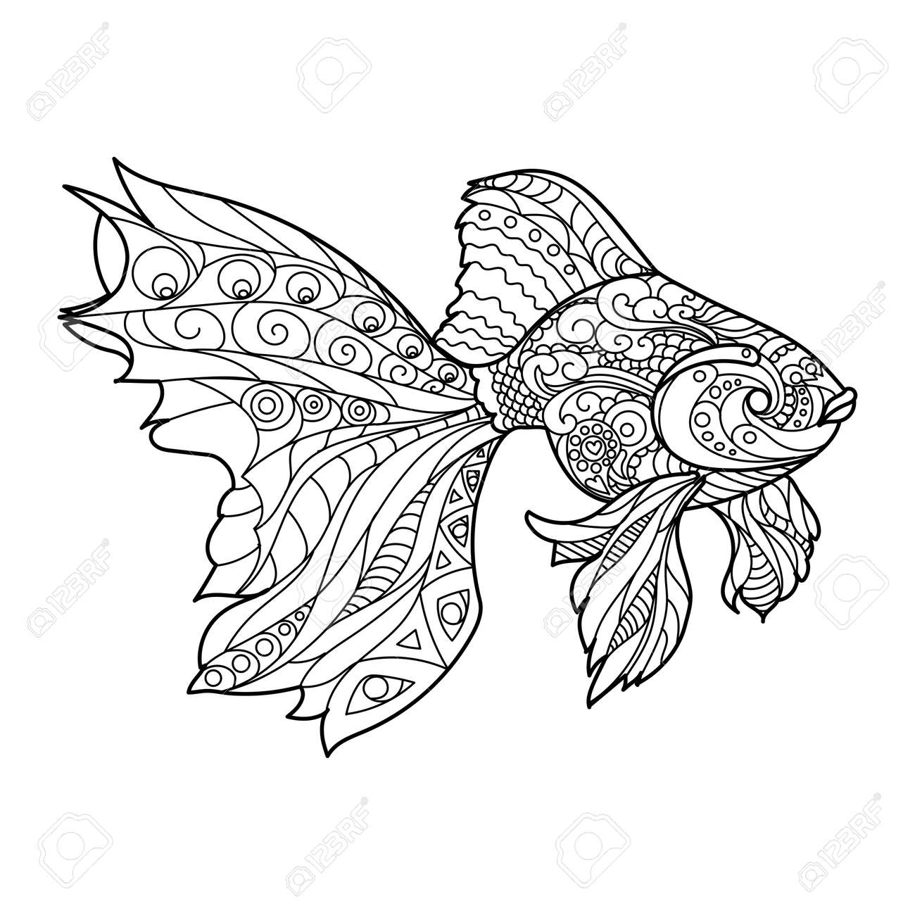 - Gold Fish Coloring Book For Adults Vector Illustration. Royalty