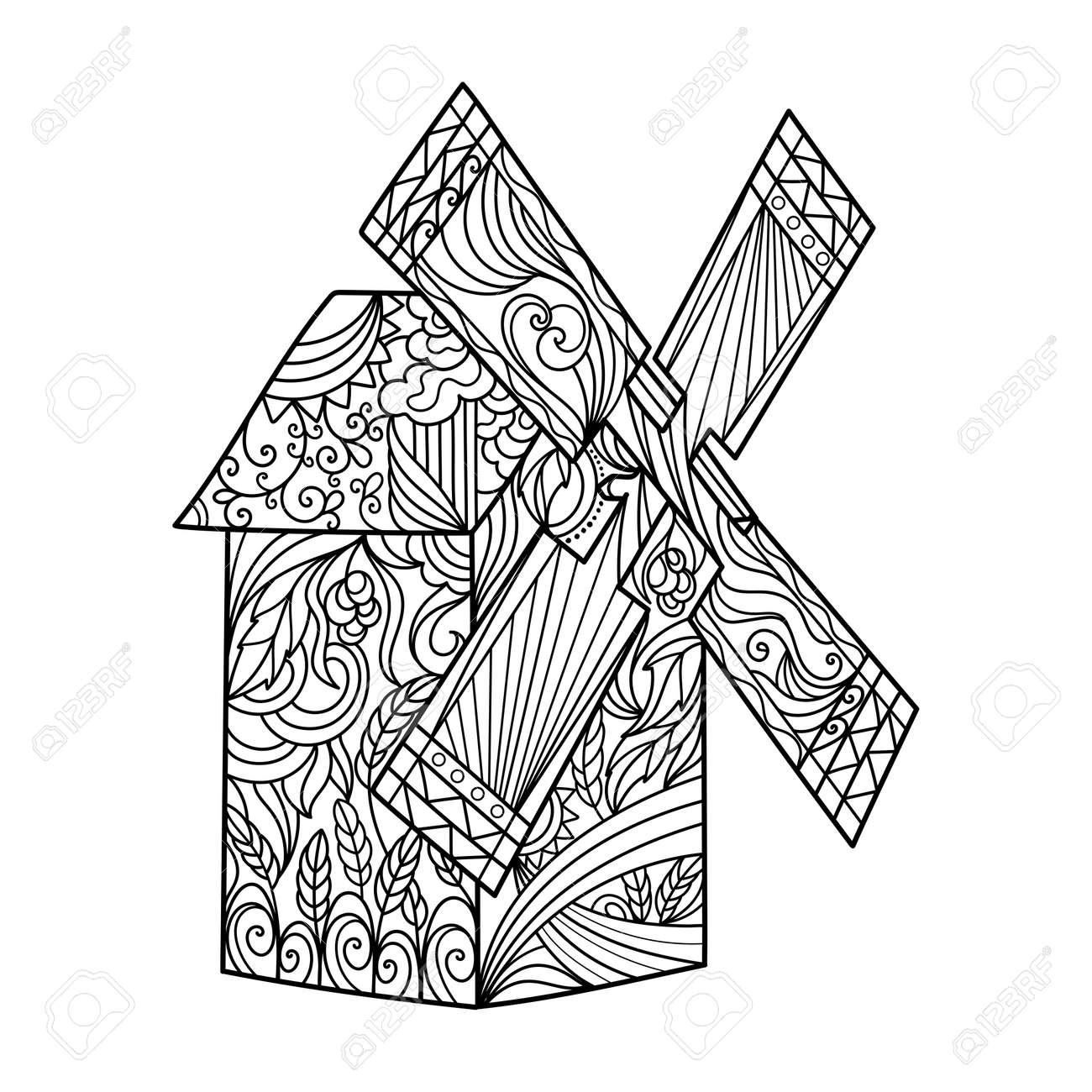 Windmühle Malbuch Für Erwachsene Illustration. Anti-Stress Für ...