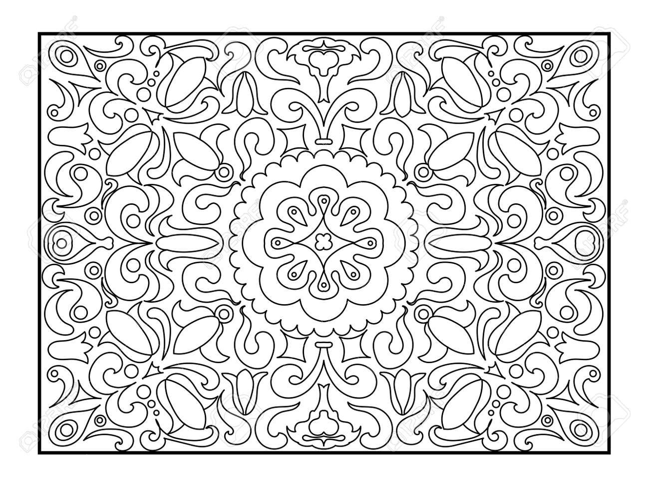 Alfombra De Libro Para Colorear Para Los Adultos Ilustración Antiestrés Colorear Para Adultos Estilo Líneas Blancas Y Negras Modelo Del Cordón