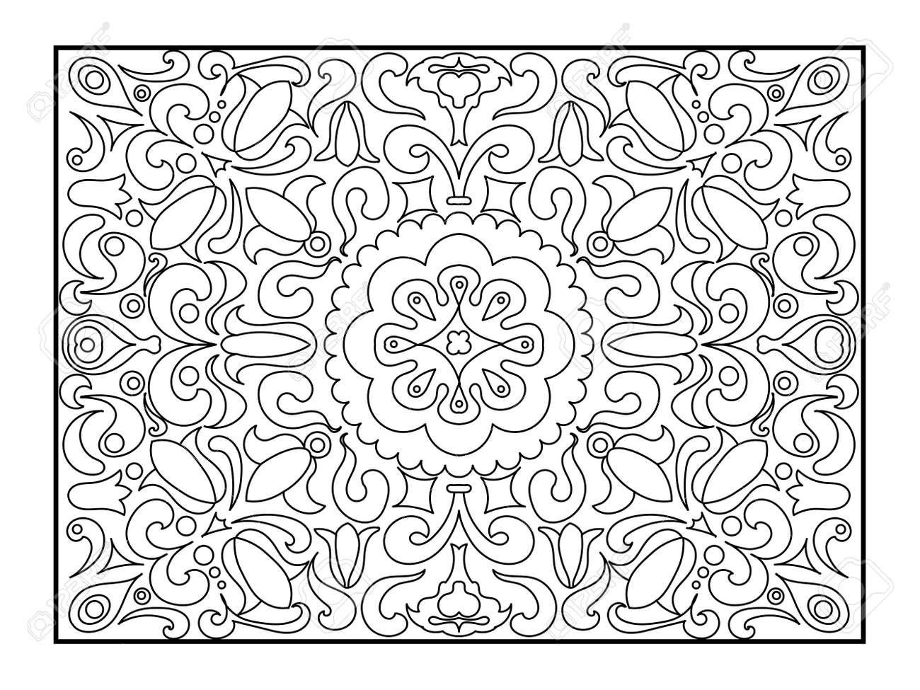 Carpet Coloring Book For Adults Illustration. Anti-stress Coloring ...