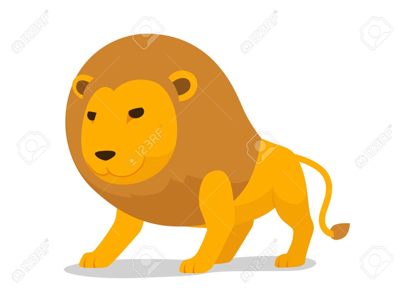 ライオンは、ミニマルなベクトル イラストを漫画します。漫画の動物