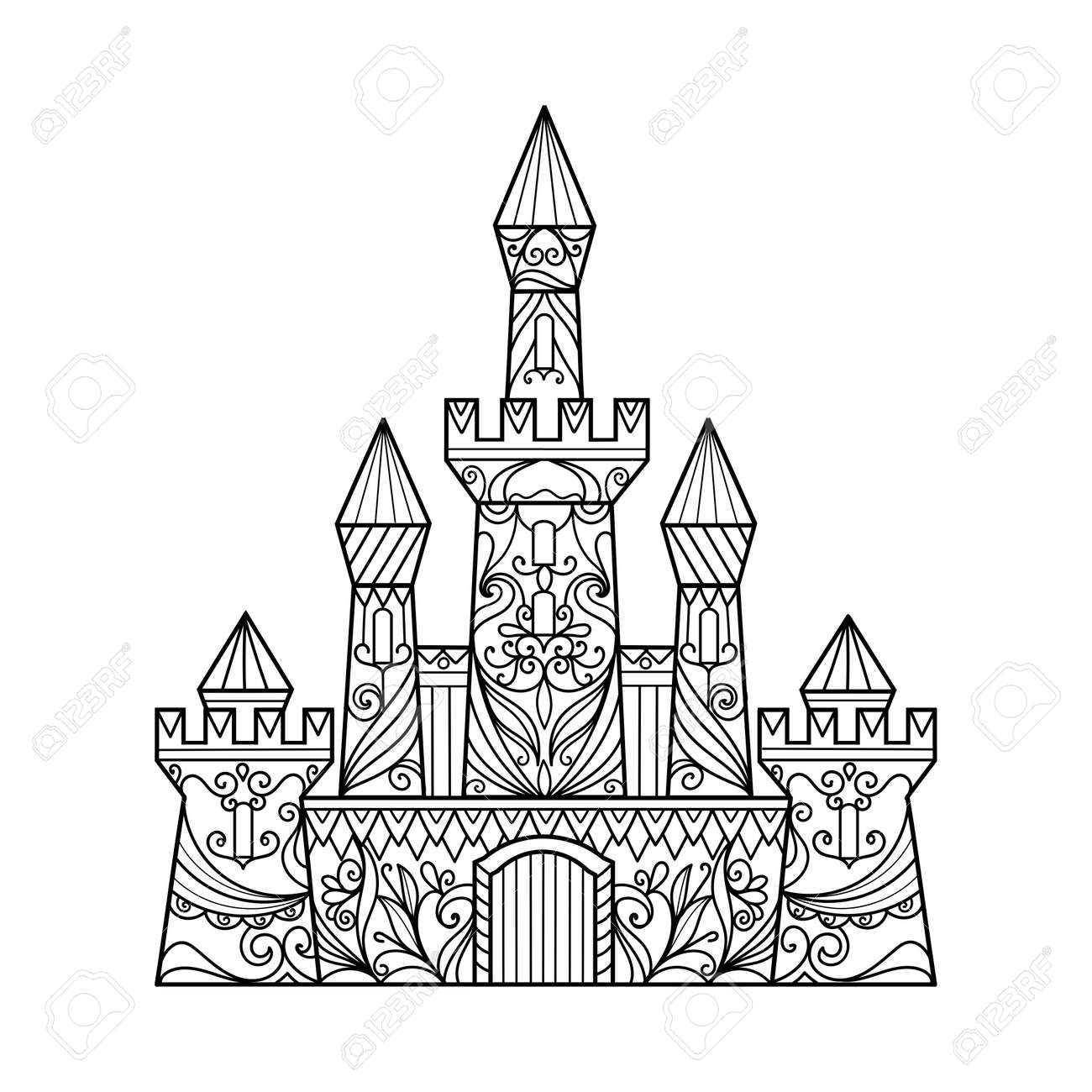 Castle Coloring Book For Adults Vector Illustration. Anti-stress ...