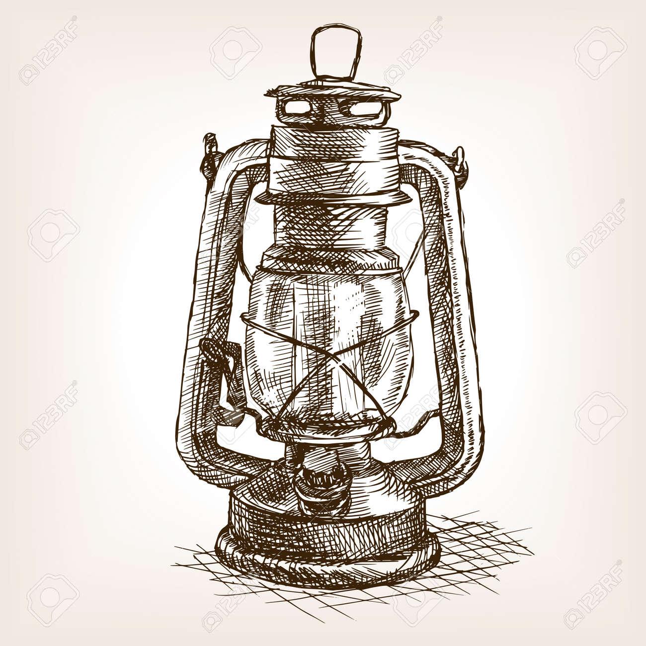 Vintage Lantern Sketch Style Vector Illustration Old Hand Drawn