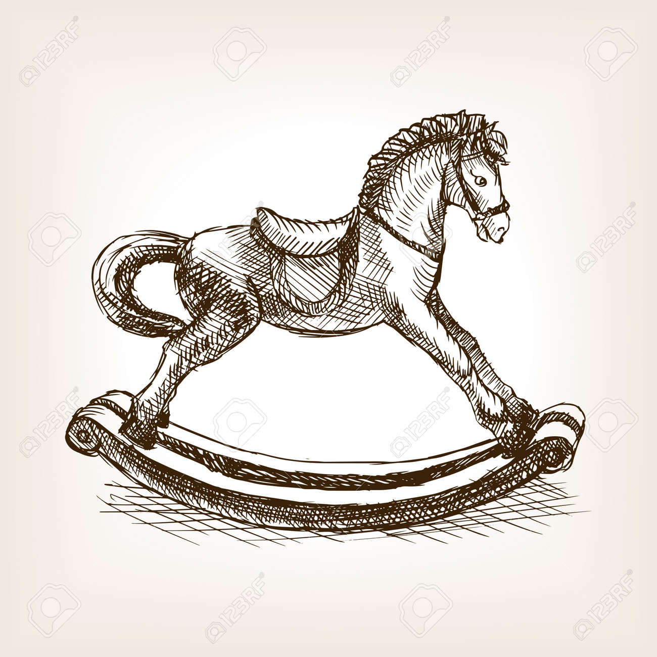 Vintage Rocking Horse Toy Sketch Style Vector Illustration Old Royalty Free Cliparts Vectors And Stock Illustration Image 55145741