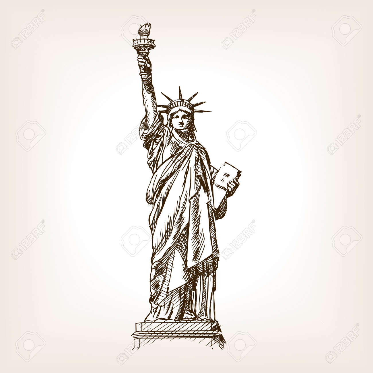 Statue Of Liberty Sketch Style Vector Illustration Old Engraving Royalty Free Cliparts Vectors And Stock Illustration Image 55145782