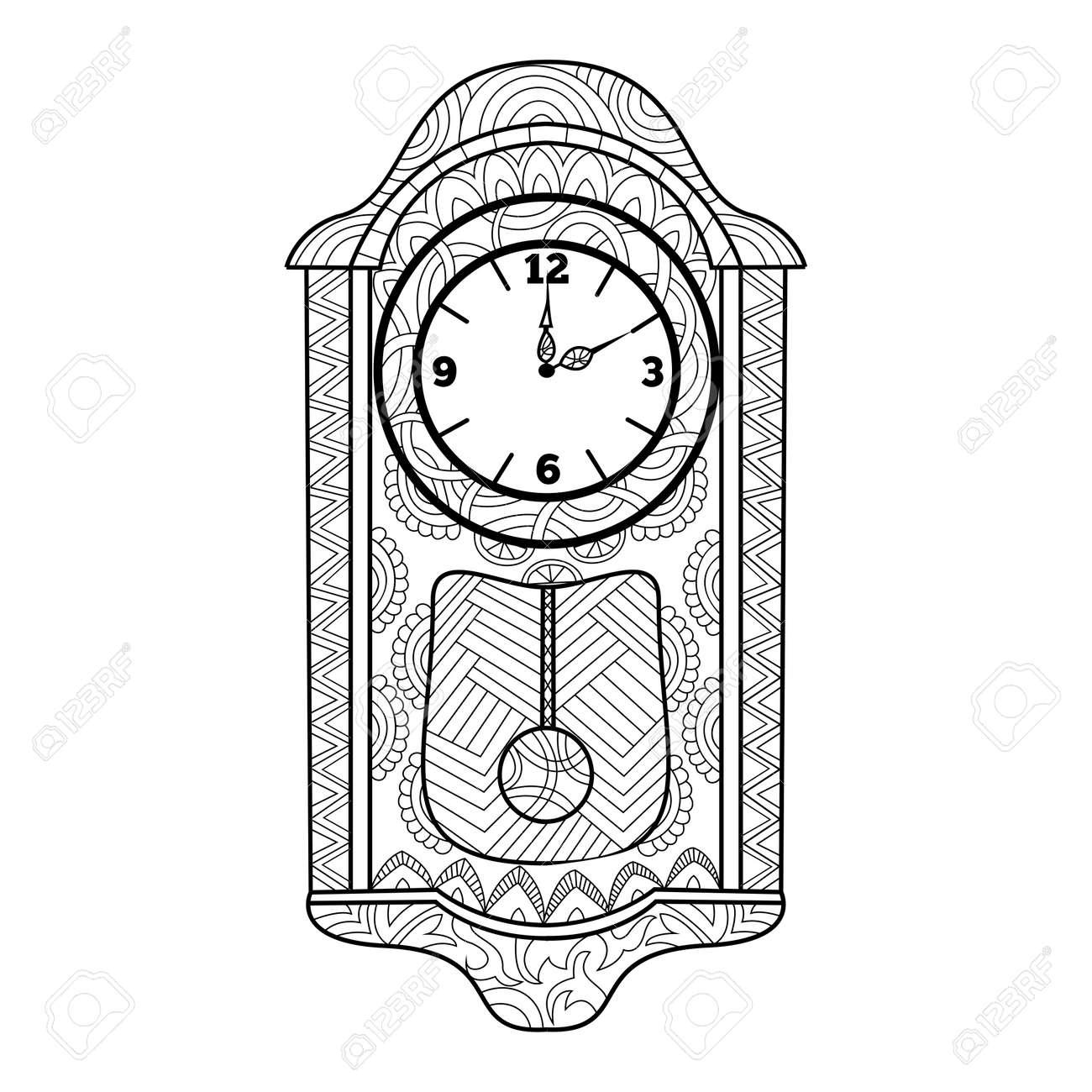 Reloj De Péndulo Para Colorear Libro Para Adultos Ilustración Vectorial Antiestrés Colorear Para Adultos Estilo De Zentangle Líneas Blancas Y