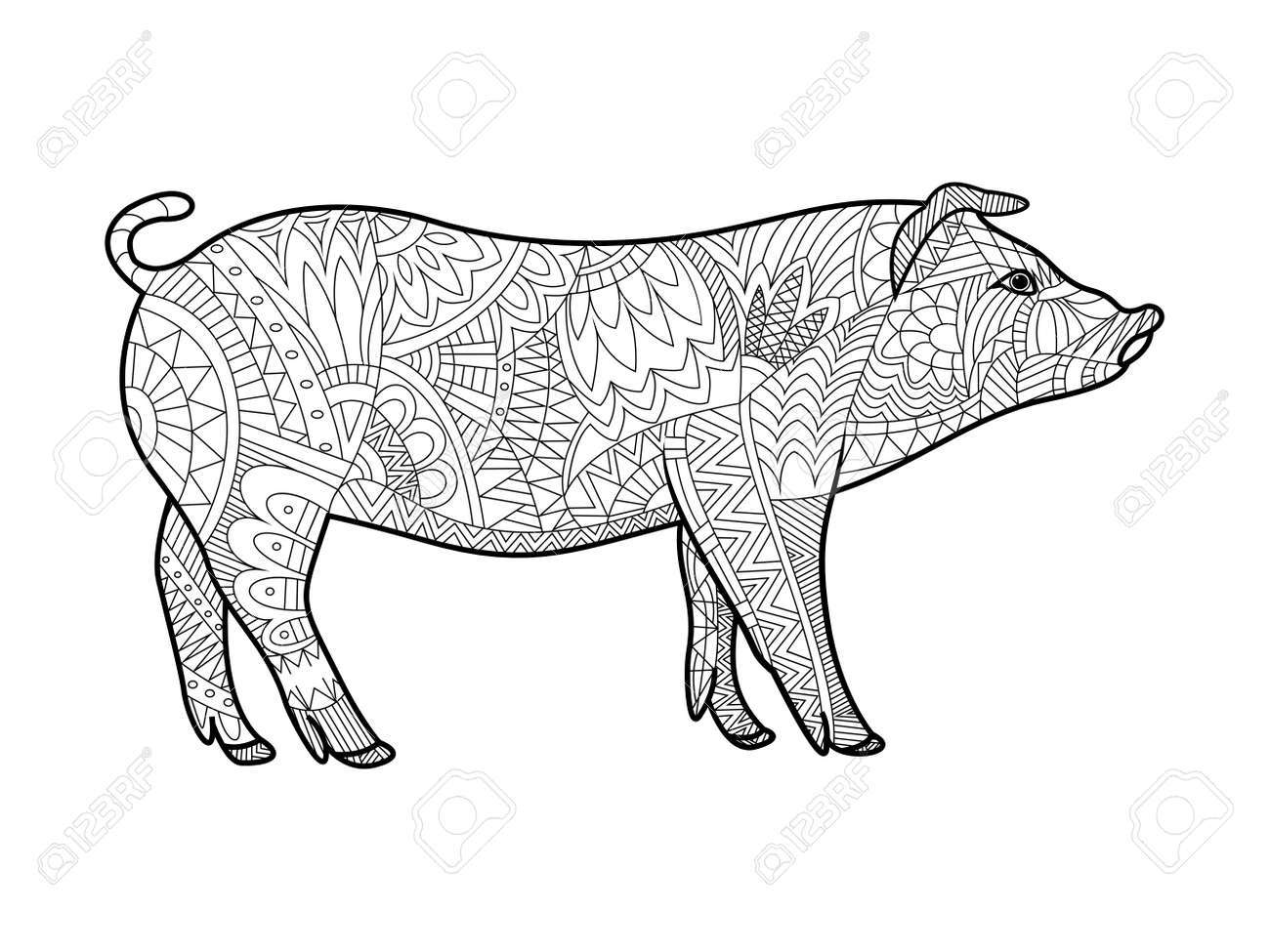 Piggy Animal Coloring Book For Adults Vector Illustration. Anti ...