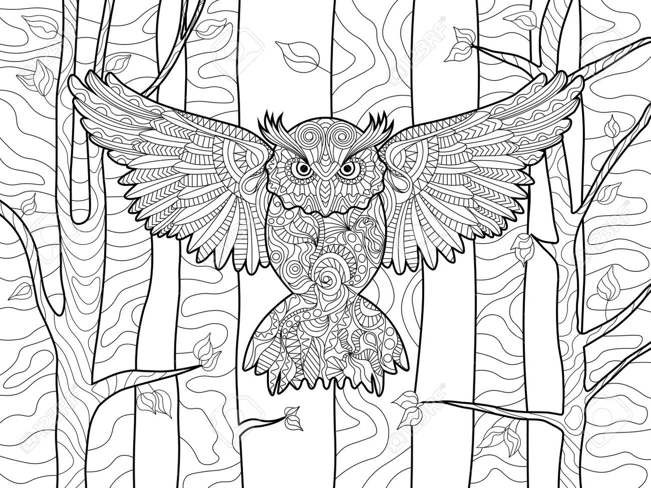 Coloring adults stress - Owl In The Forest Bird Coloring Book For Adults Vector Illustration Anti Stress Coloring
