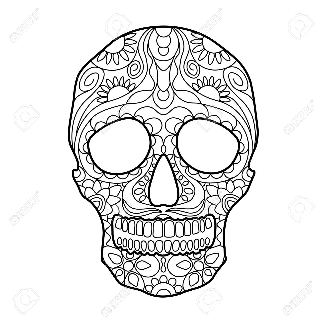 Hunan Skull Coloring Book For Adults Vector Illustration Anti