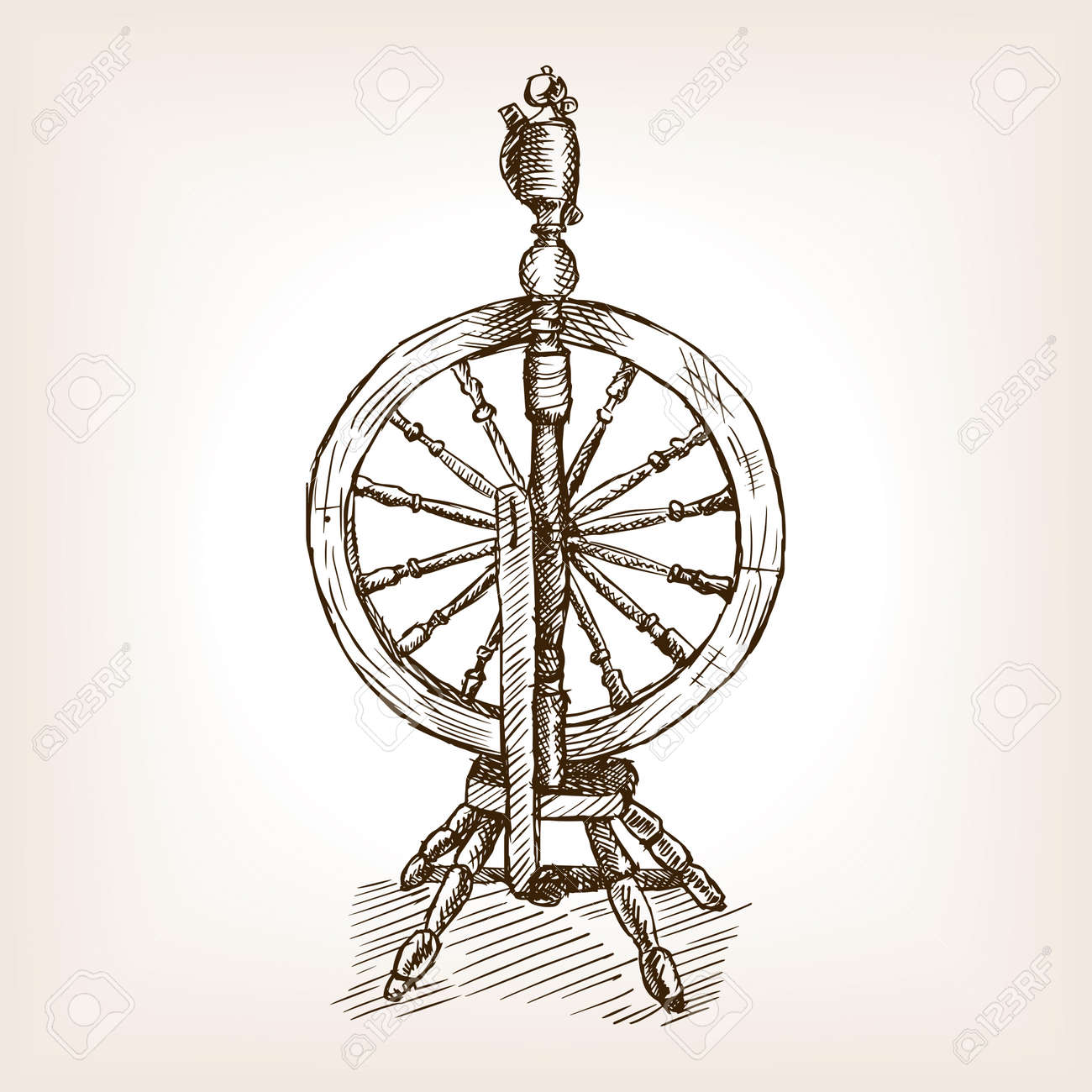 Spinning Wheel Sketch Style Vector Illustration Old Hand Drawn Royalty Free Cliparts Vectors And Stock Illustration Image 55701461