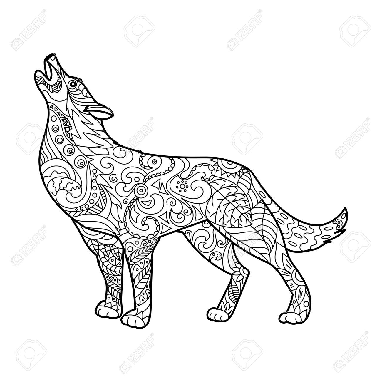 Wolf coloring book for adults vector illustration. Anti-stress..
