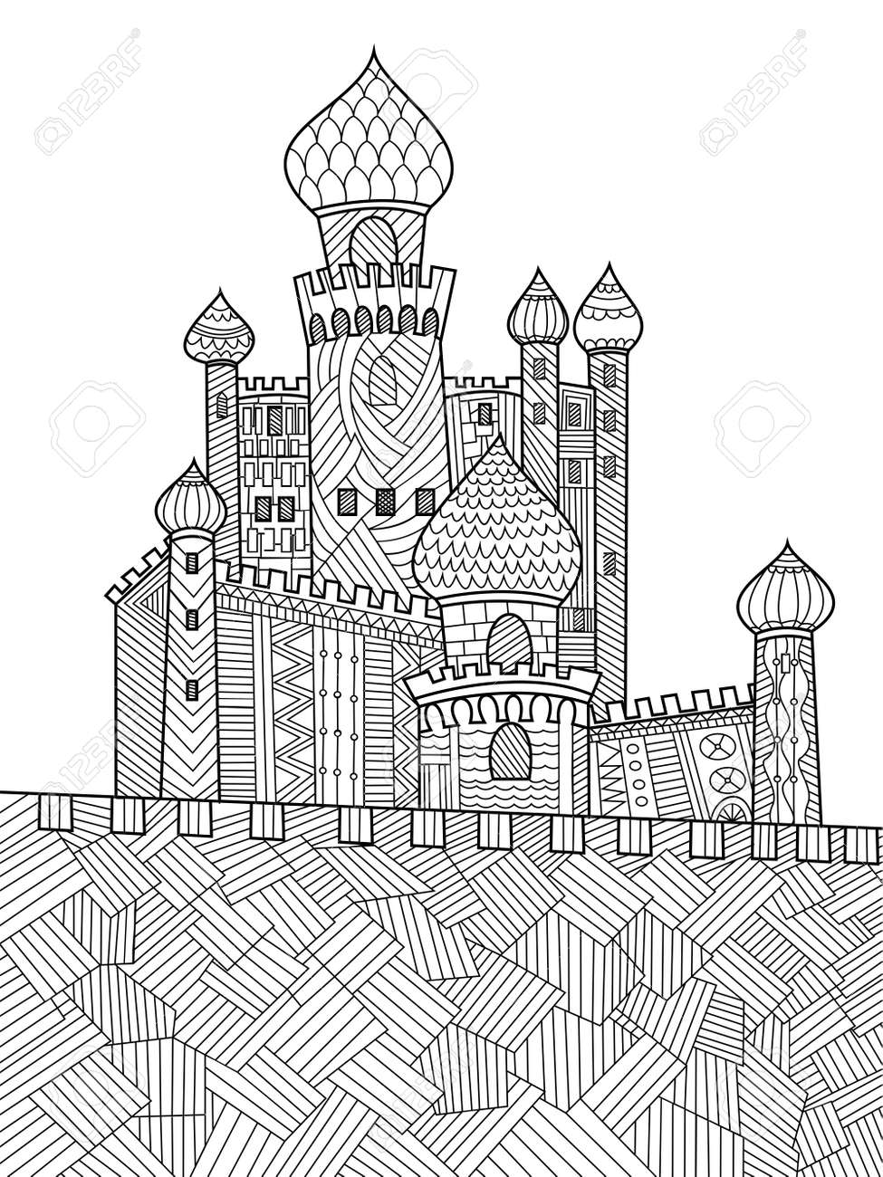 Medieval Castle Coloring Book For Adults Vector Illustration ...