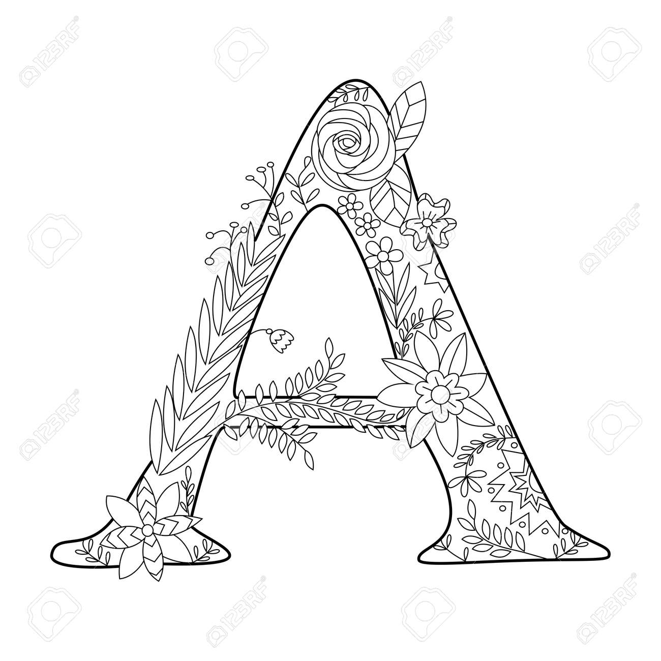 Floral Alphabet Letter Coloring Book For Adults Vector Illustration