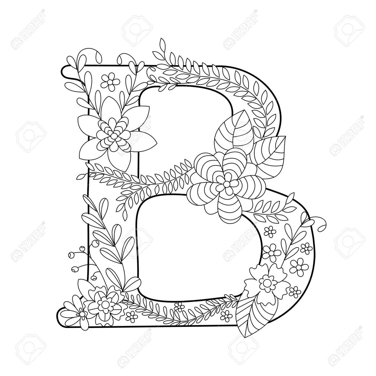 Floral Libro Para Colorear Letra Del Alfabeto Para La Ilustración Vectorial Adultos Antiestrés Colorear Para Adultos Fuente Floral Líneas