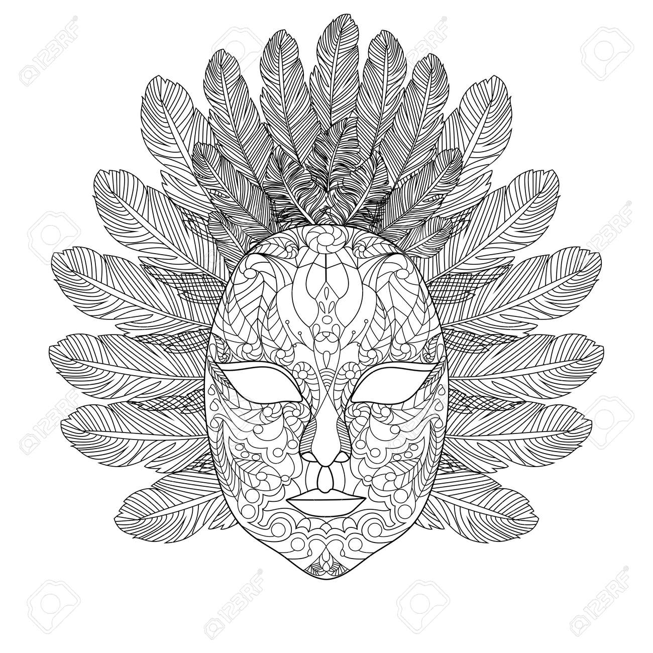 Carnival Mask Coloring Book For Adults Vector Illustration. Anti ...