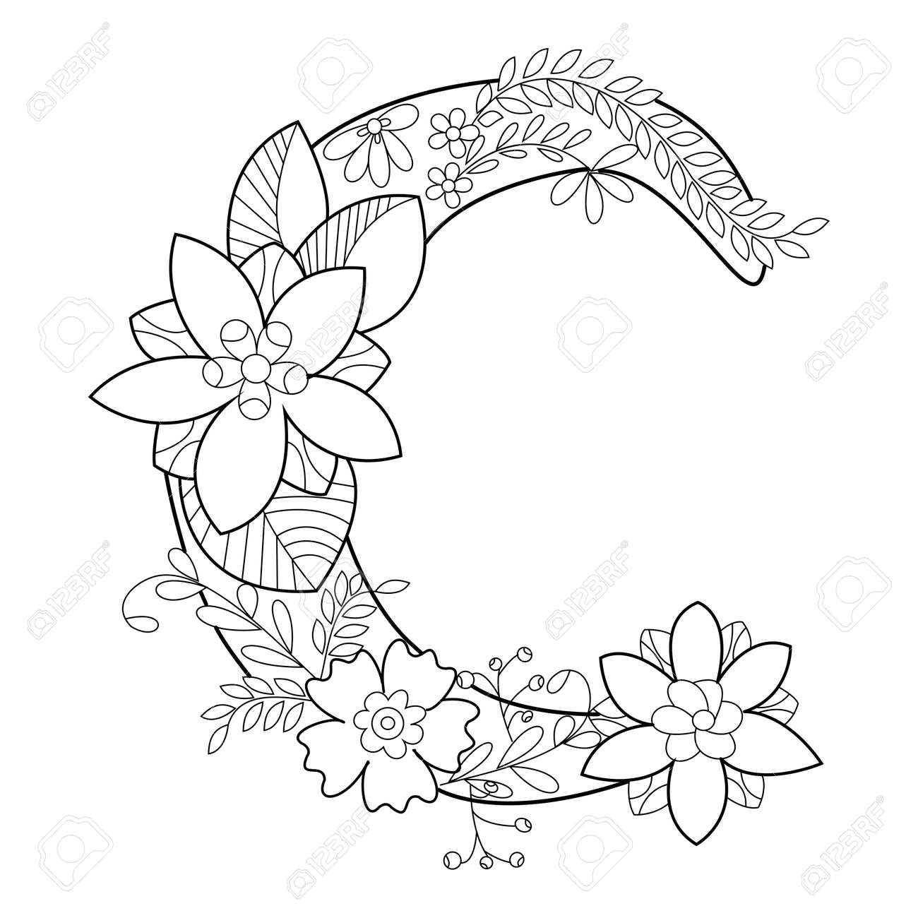 Floral Alphabet Letter Coloring Book For Adults Vector Illustration ...