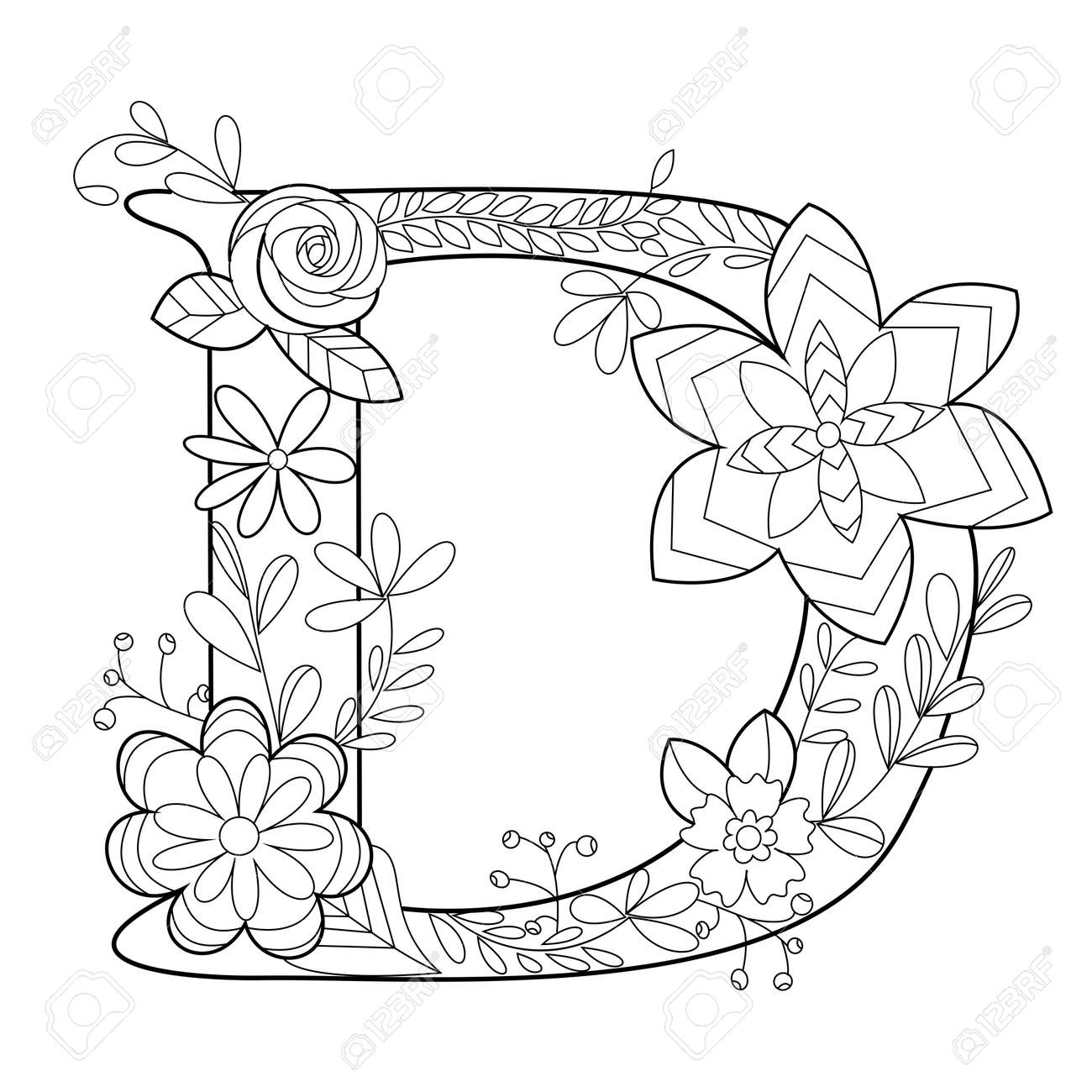 Coloriage Anti Stress Alphabet.Floral Alphabet Letter Coloring Book For Adults Vector Illustration