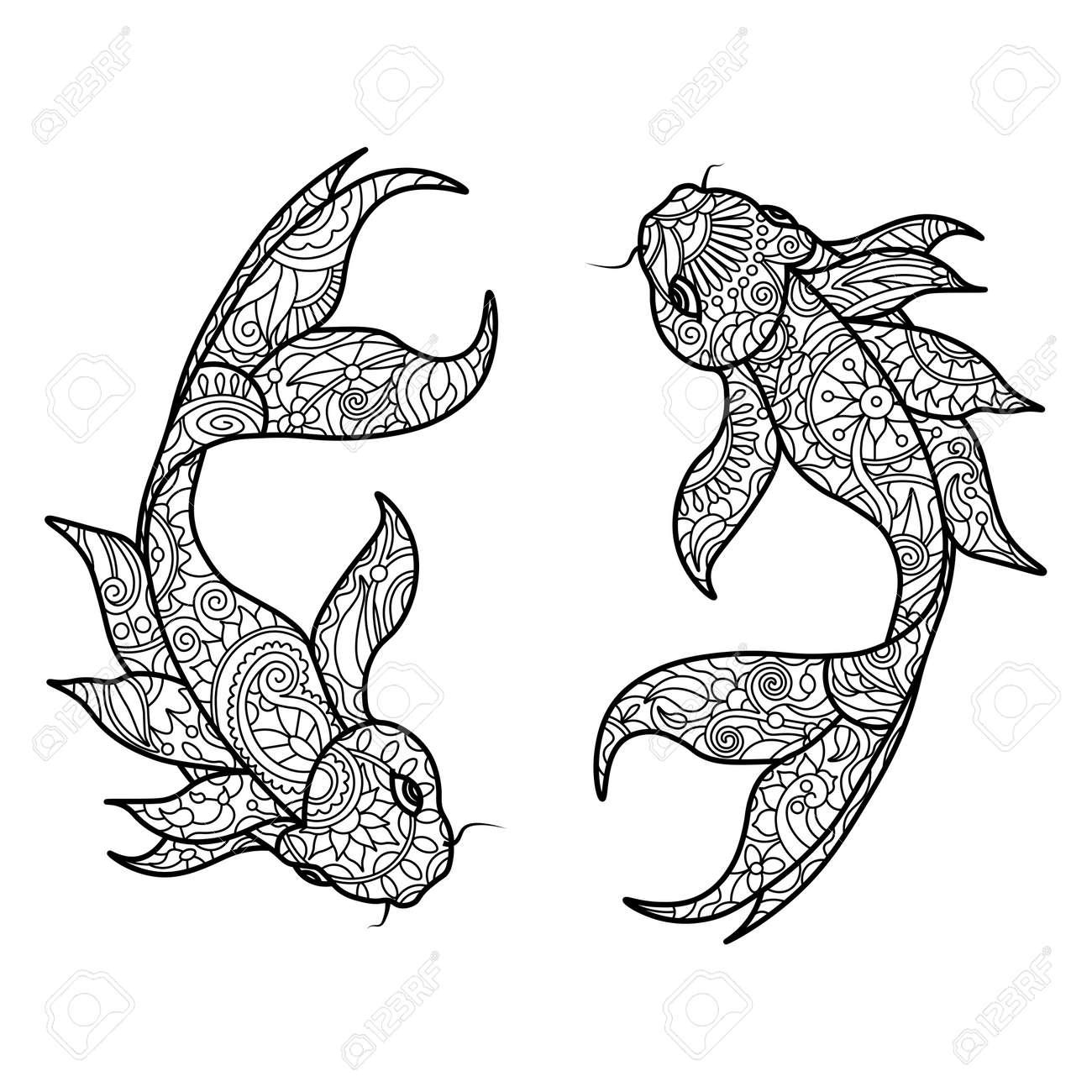 Koi Carp Fish Coloring Book For Adults Vector Illustration. Anti ...