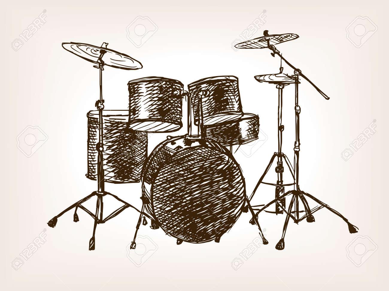 Drum Set Sketch Style Vector Illustration Old Hand Drawn Engraving