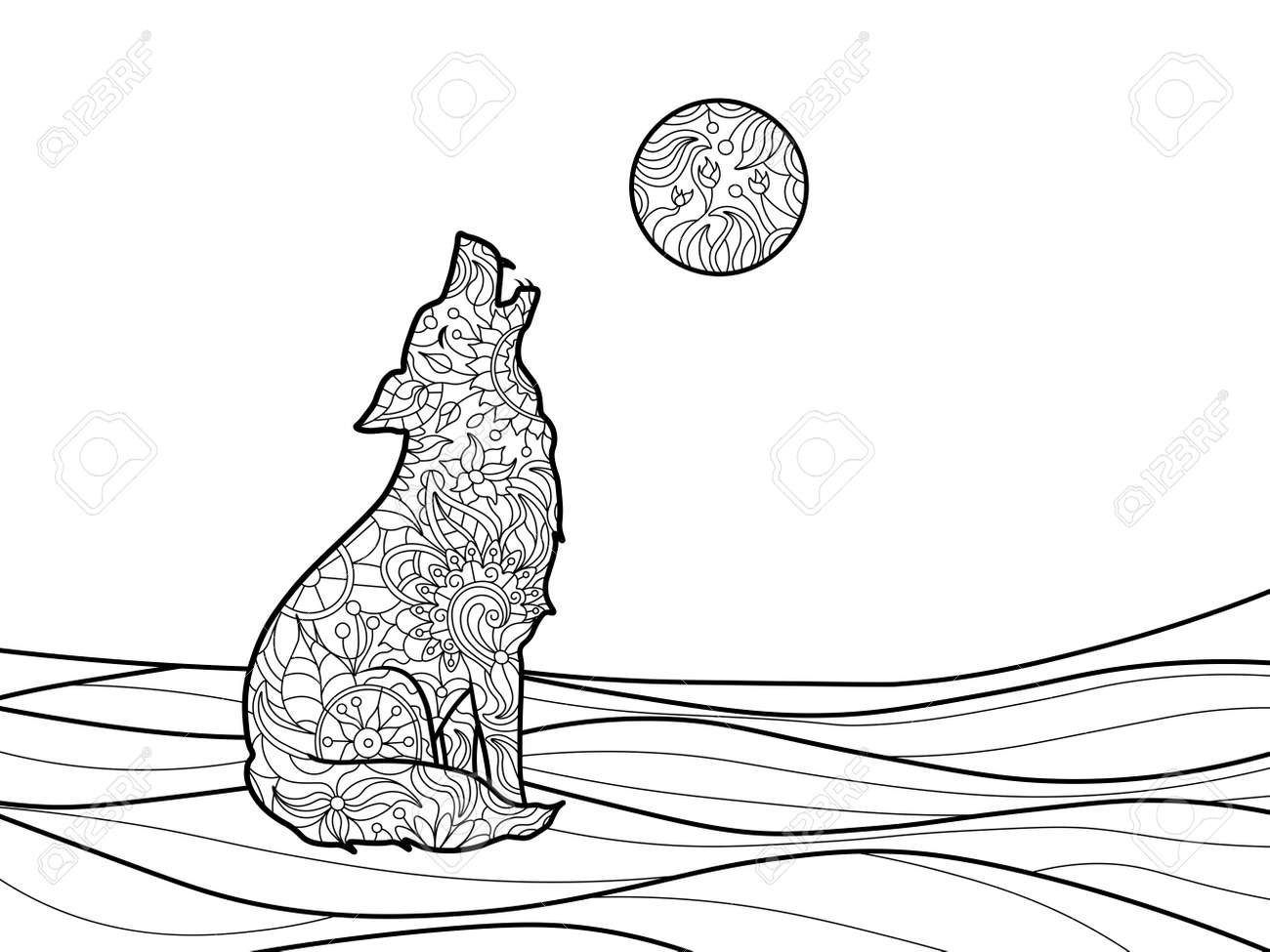 Wolf Coloring Book For Adults Vector Illustration. Royalty Free ...