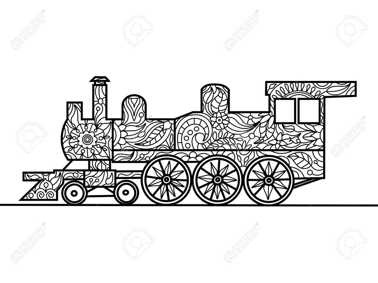Vapor De Libro Para Colorear Locomotora Para La Ilustración ...