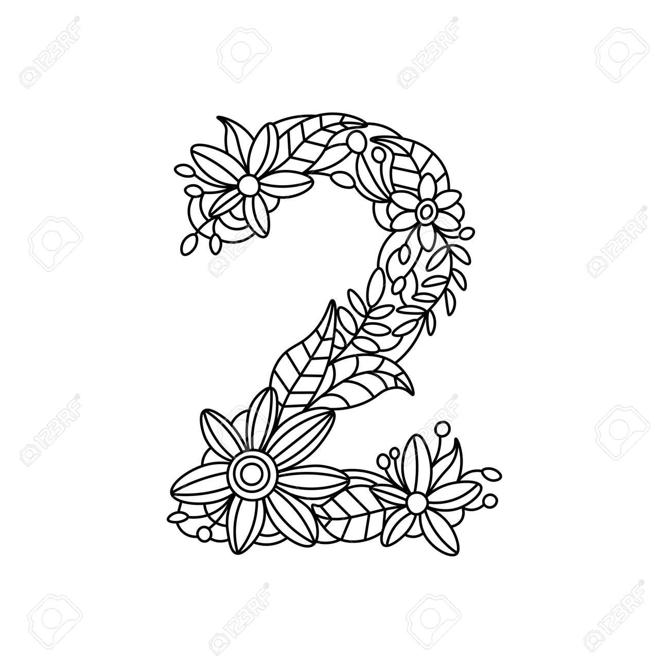 Floral Numéro De Police Livre De Coloriage Pour Les Adultes Illustration Vectorielle