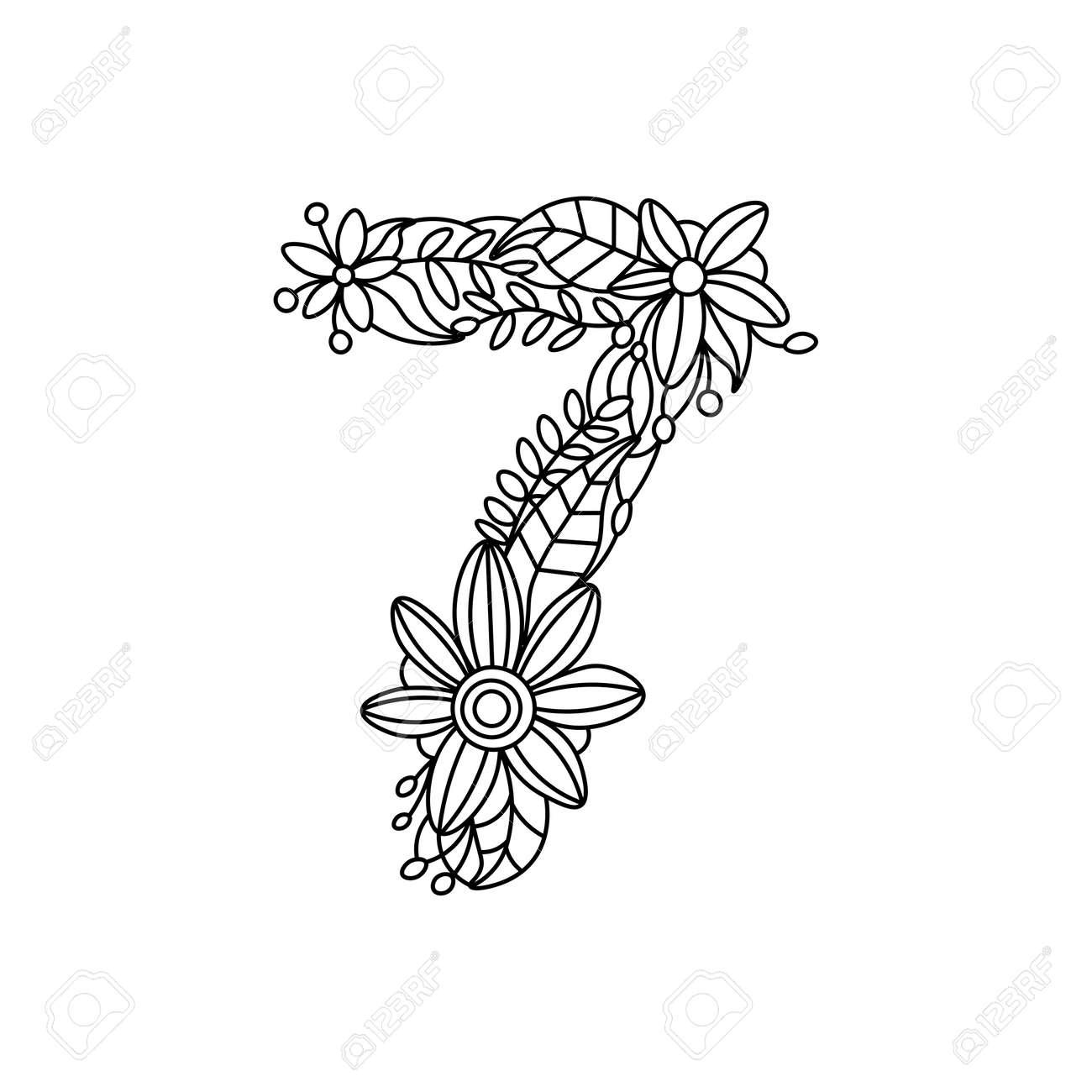 Número Floral Fuente De Libro Para Colorear Para Los Adultos Ilustración Vectorial
