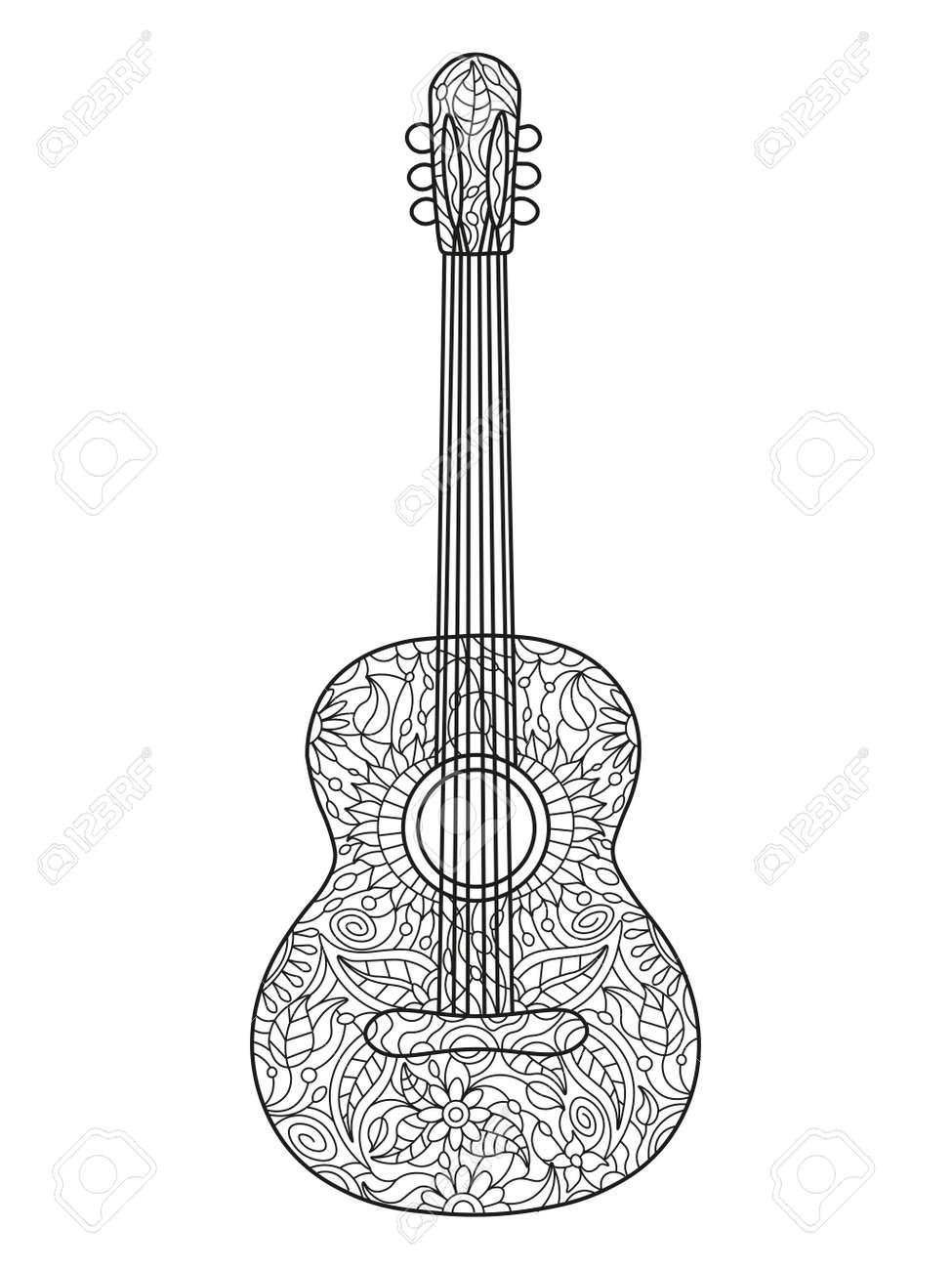 Acústica Libro Para Colorear Guitarra Para Adultos Ilustración