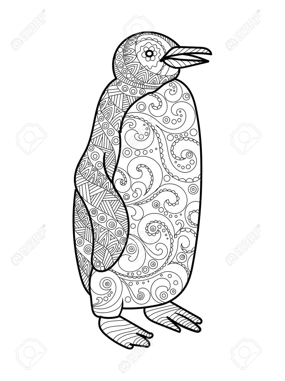 Penguin coloring book for adults vector illustration.