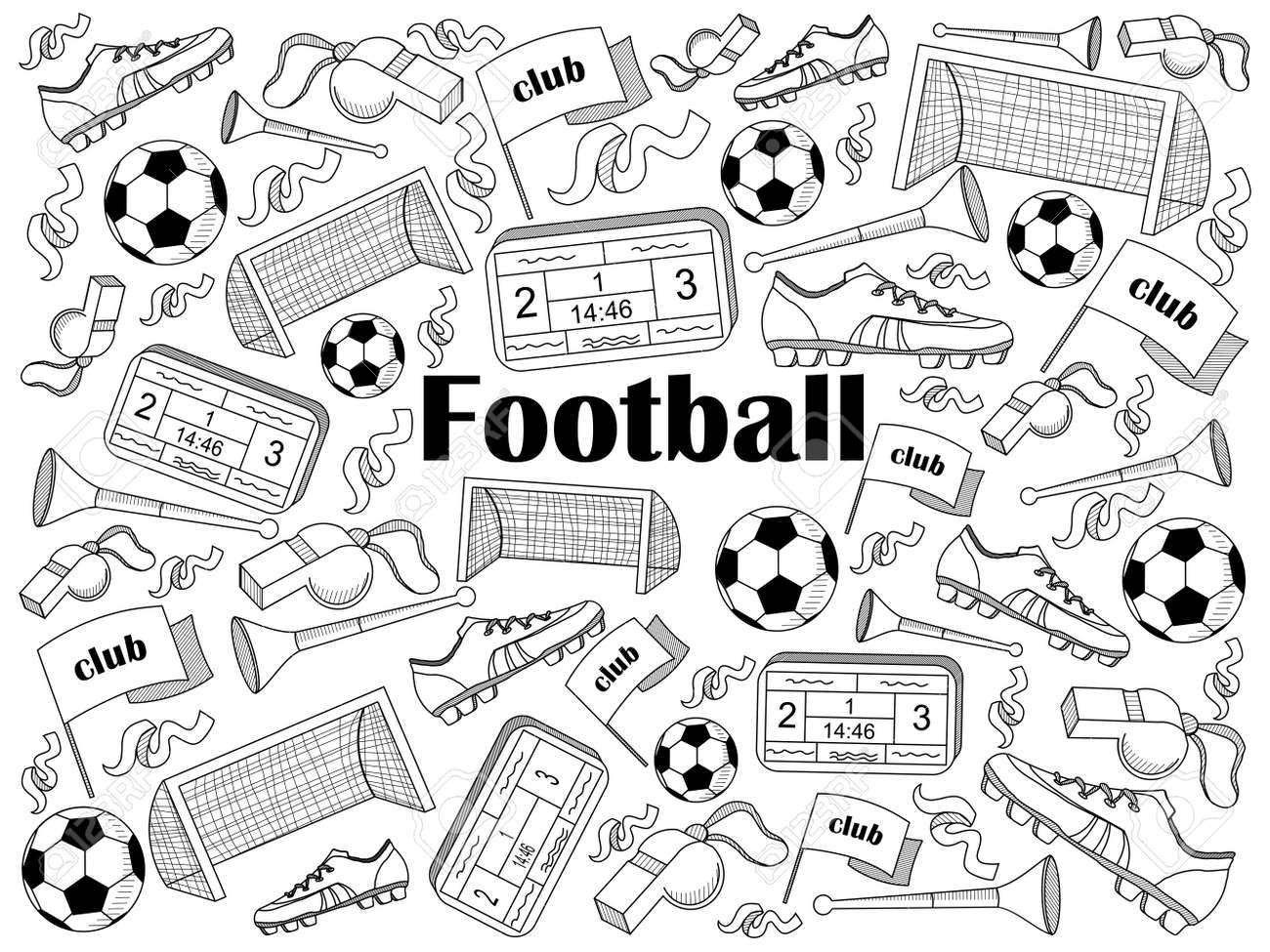 Football Design Colorless Set Vector Illustration. Coloring Book ...