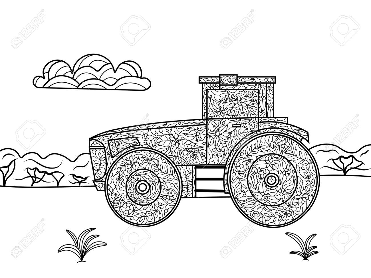 Tractor Coloring Book For Adults Vector Illustration. Black And ...