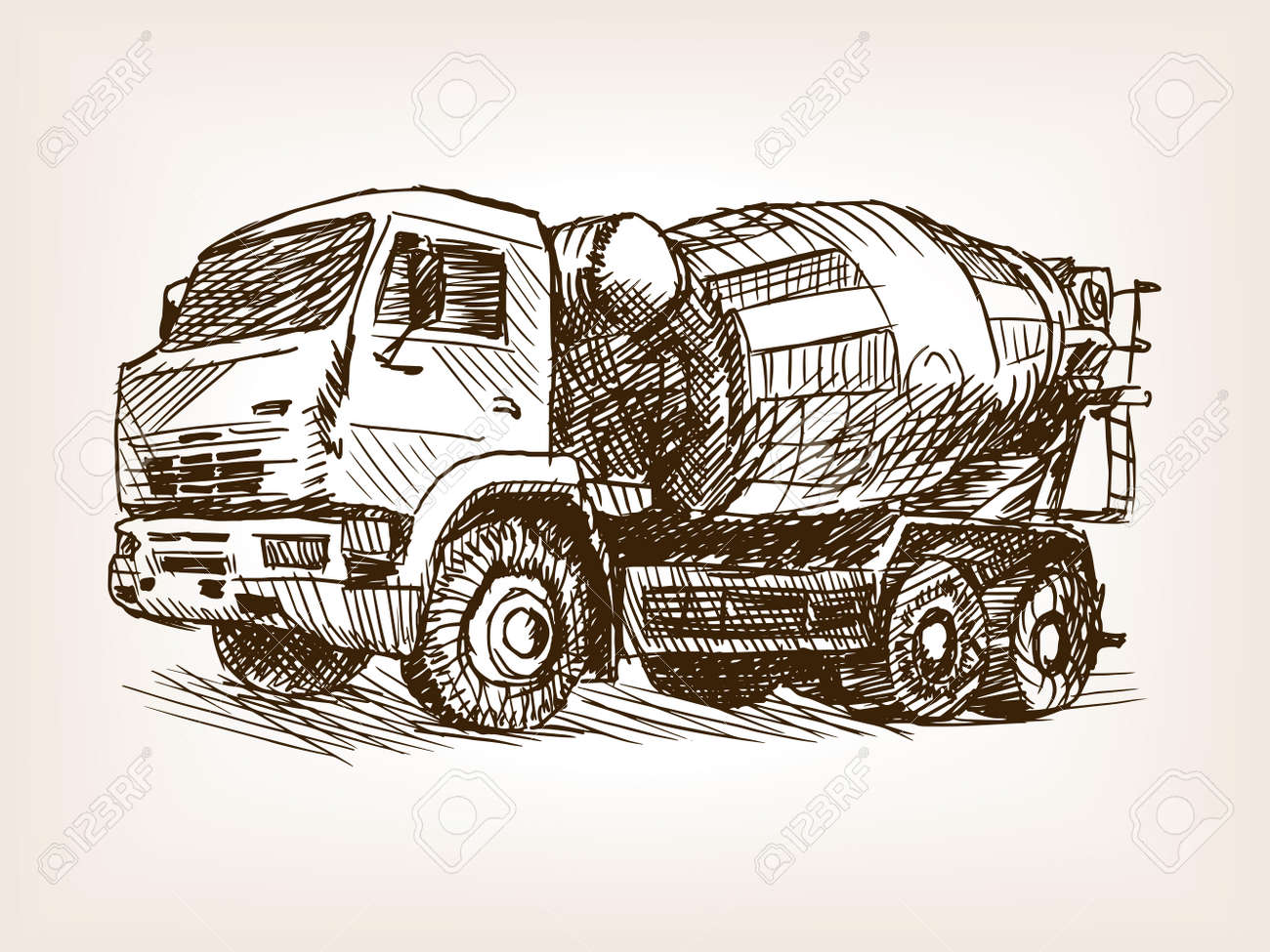 Concrete Mixer Truck Sketch Style Vector Illustration. Old Engraving ...