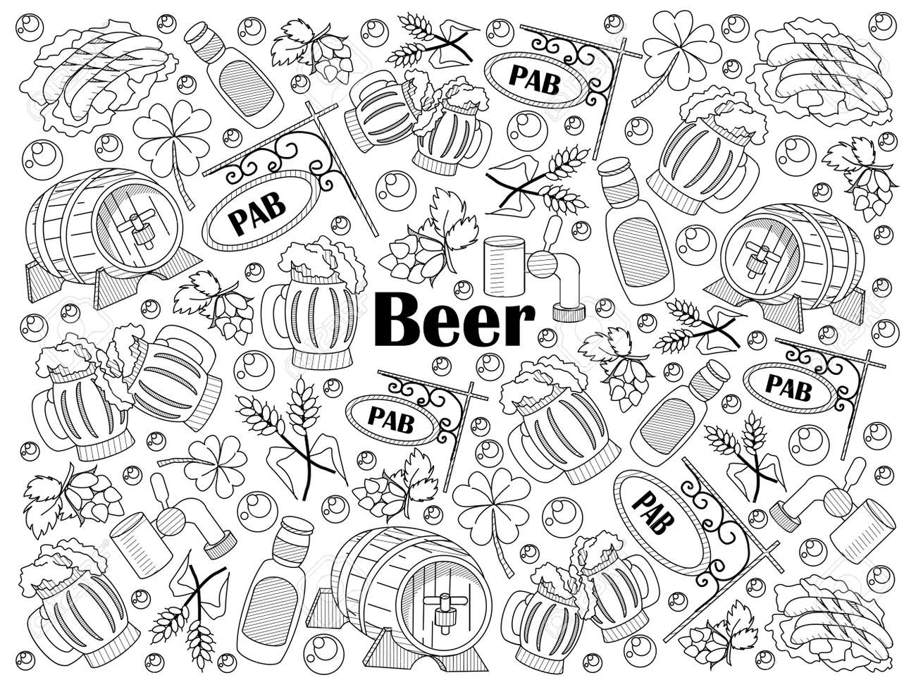 Beer Design Colorless Set Vector Illustration Coloring Book Black And White Line Art Stock