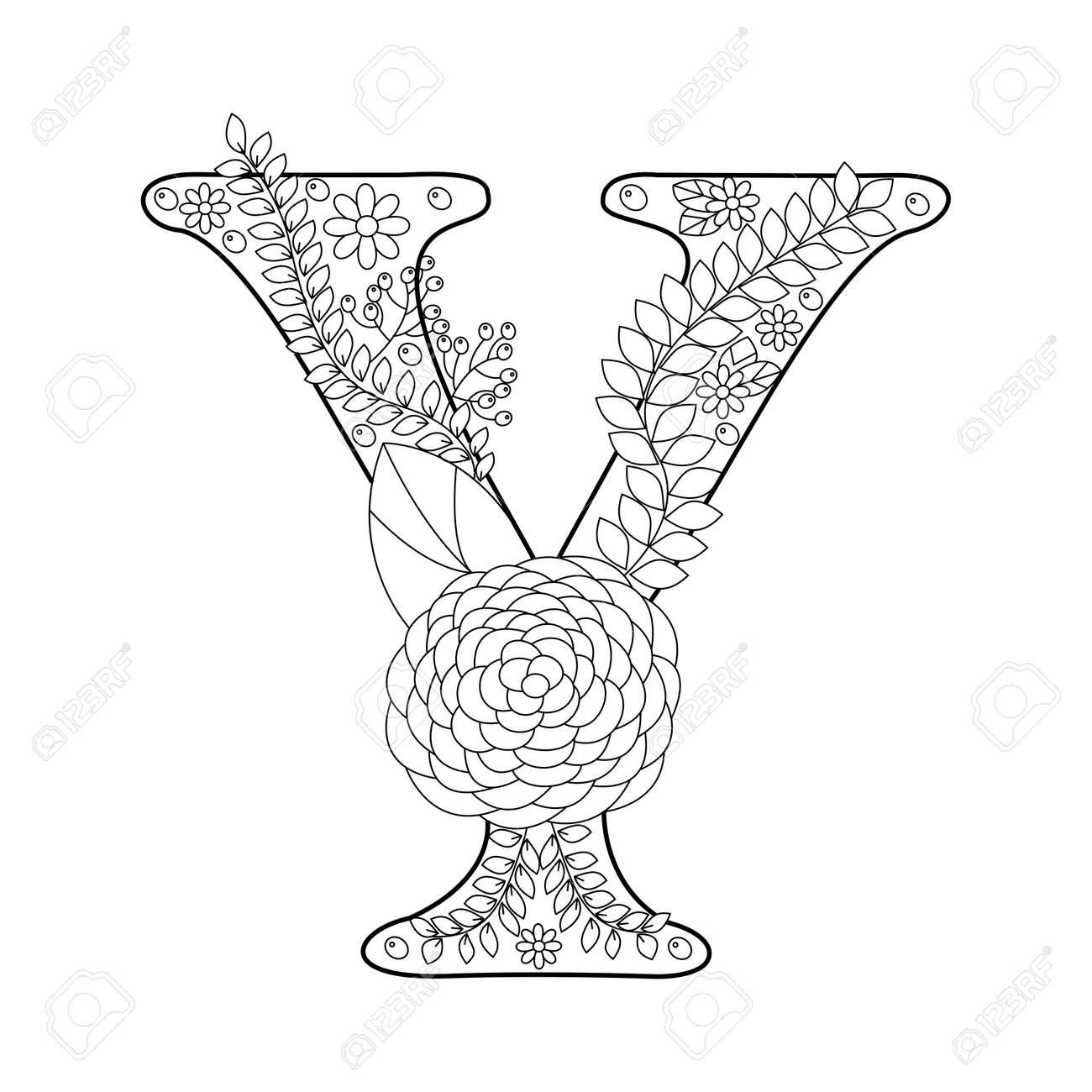 Floral Libro Para Colorear Letra Del Alfabeto Para La Ilustración Vectorial Adultos