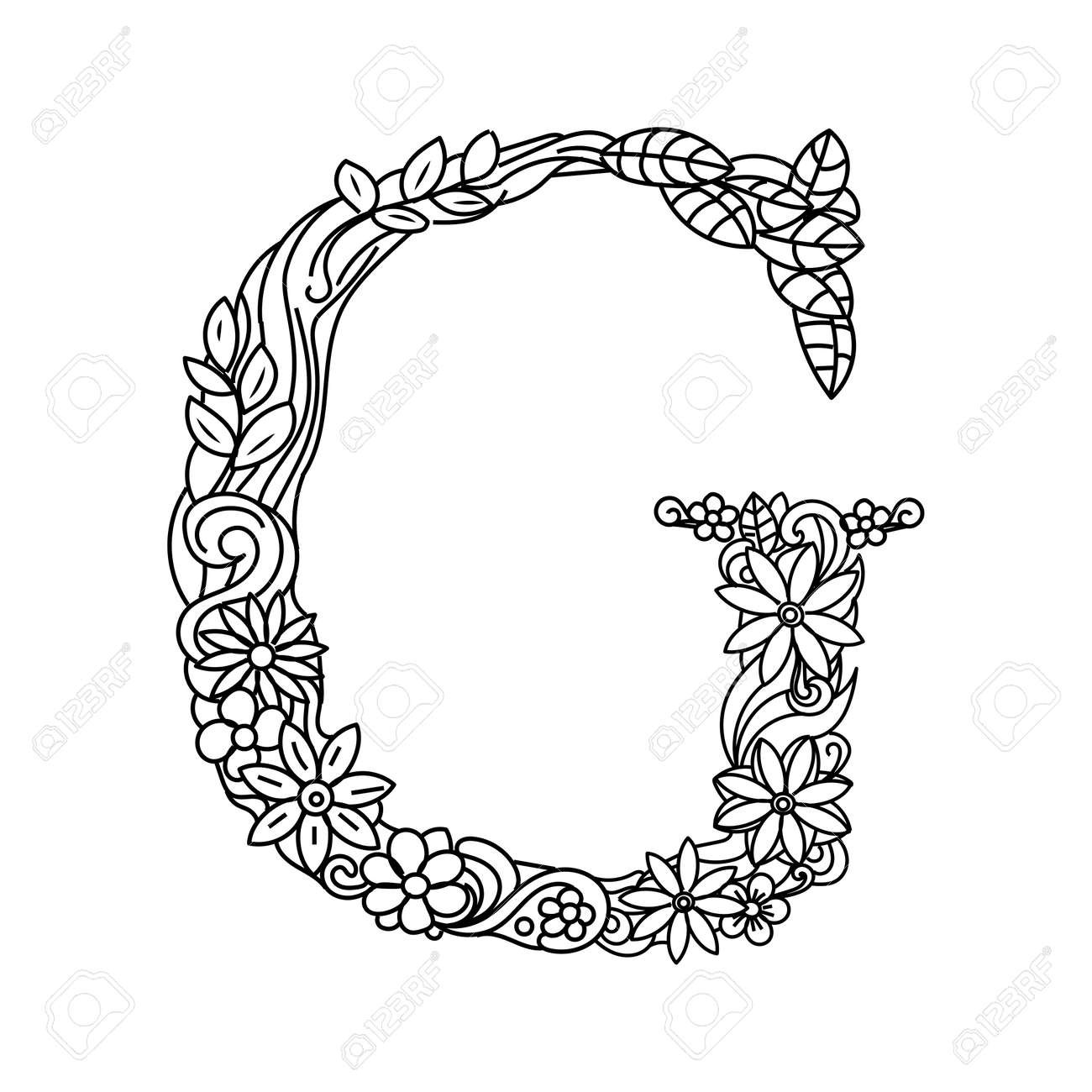Floral Alphabet Letter Coloring Book For Adults Vector Illustration Stock