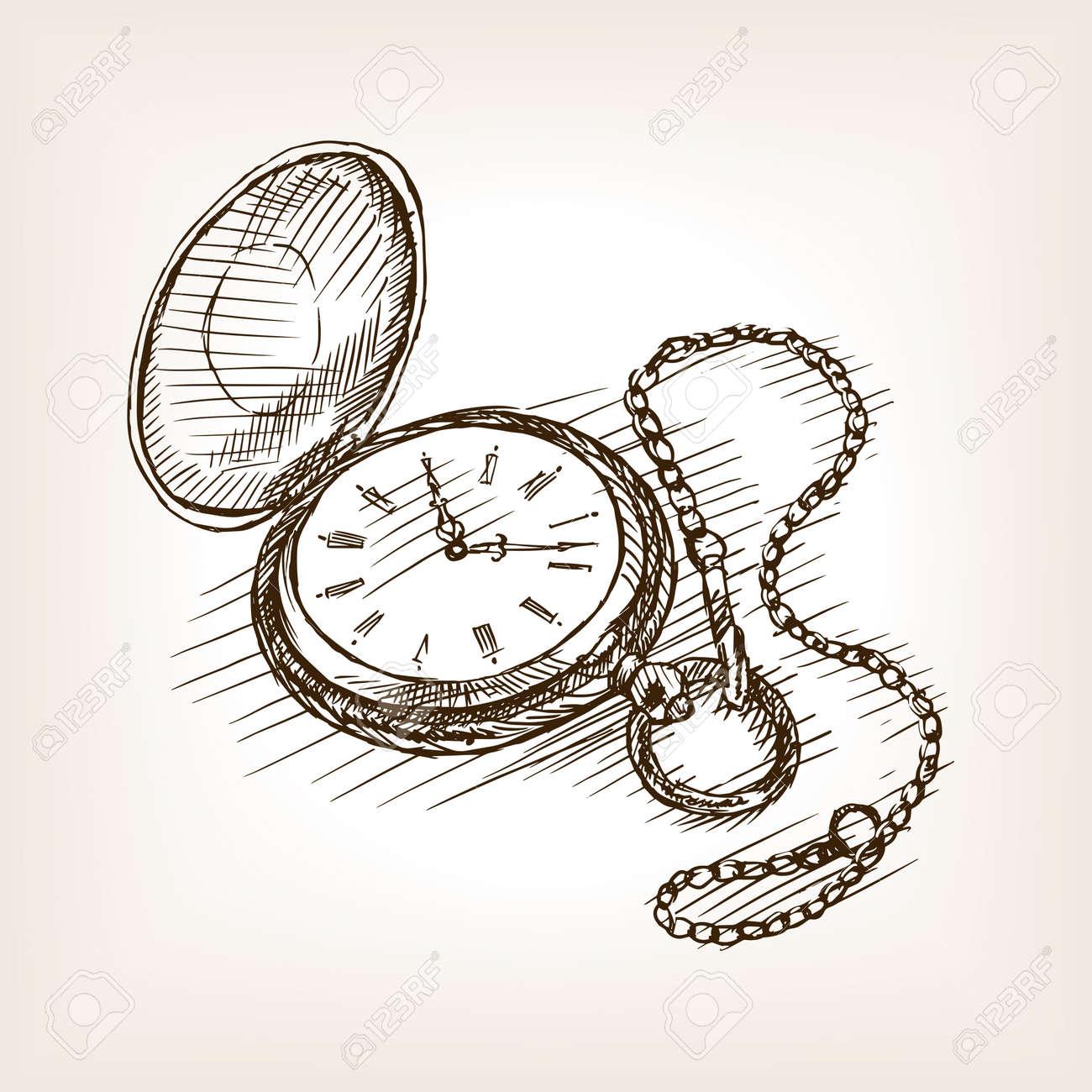 Ilustración Vectorial De Estilo De Dibujo Del Reloj De Bolsillo De Edad Grabado Antiguo De Imitación Ilustraciones Vectoriales Clip Art Vectorizado Libre De Derechos Image 57222189
