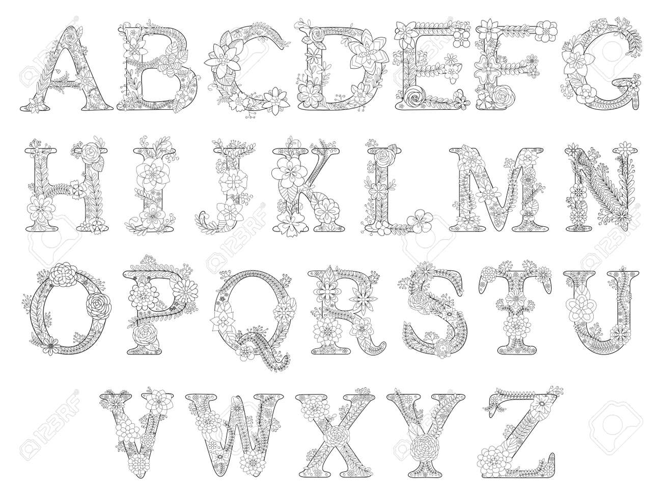 Floral Alphabet Letter Coloring Book For Adults Vector ...