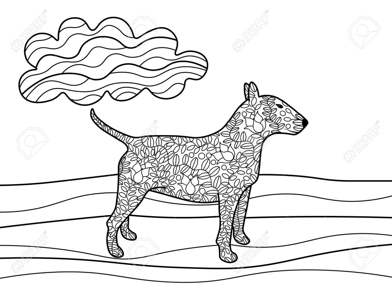 Bullterrier Dog Coloring Book For Adults Vector Illustration ...
