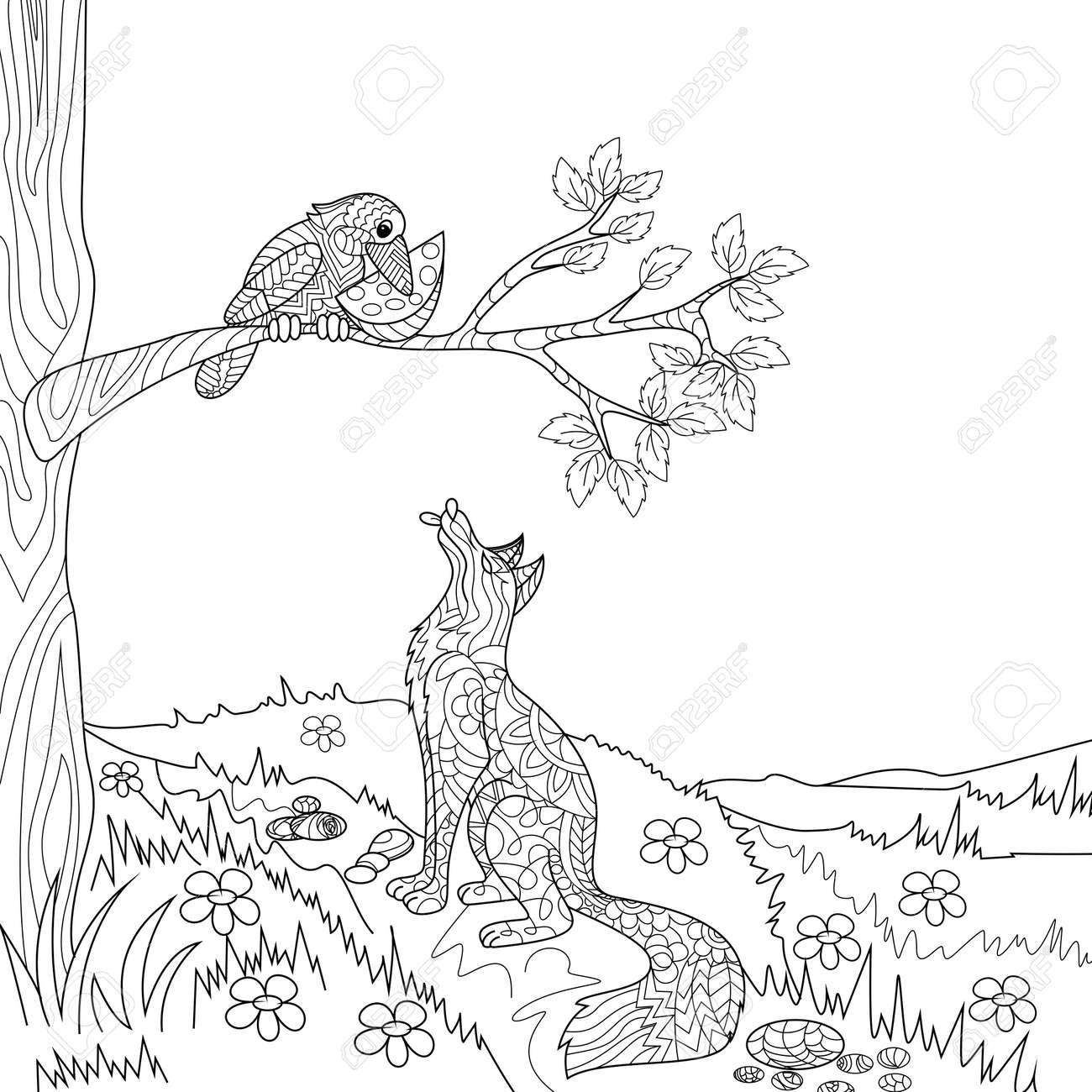 Fox Y La Ilustración De Libros Para Colorear Vector Cuento Cuervo