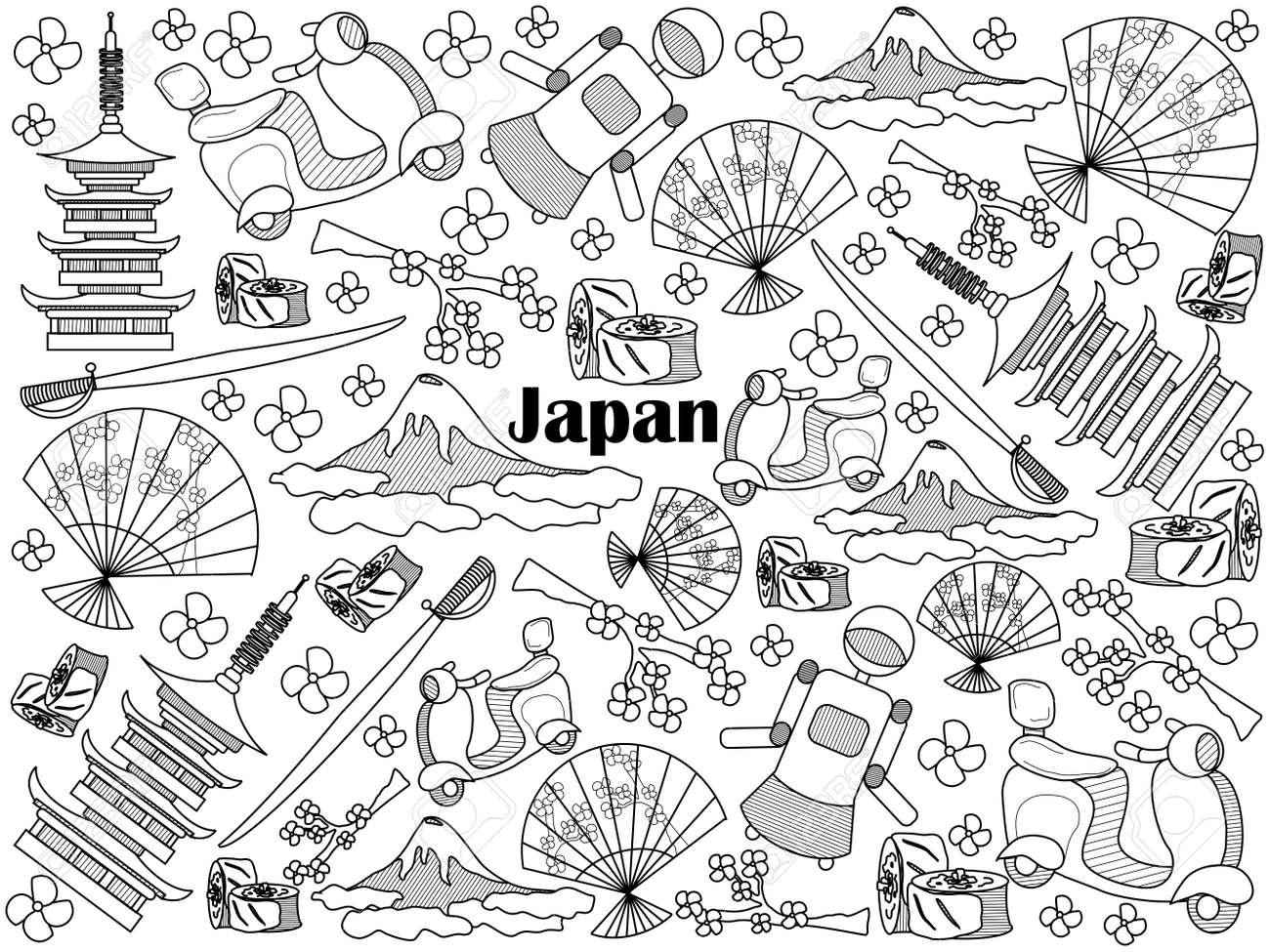 Japan Design Farblos Set Vektor-Illustration. Malbuch. Schwarz-Weiß ...