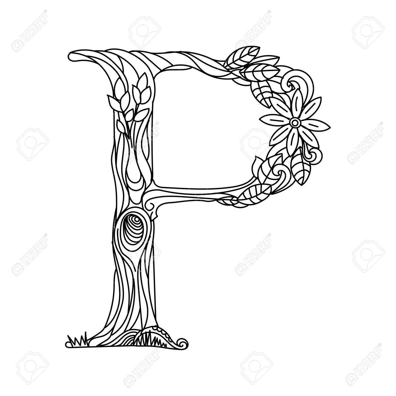 Floral alphabet letter coloring book for adults illustration.