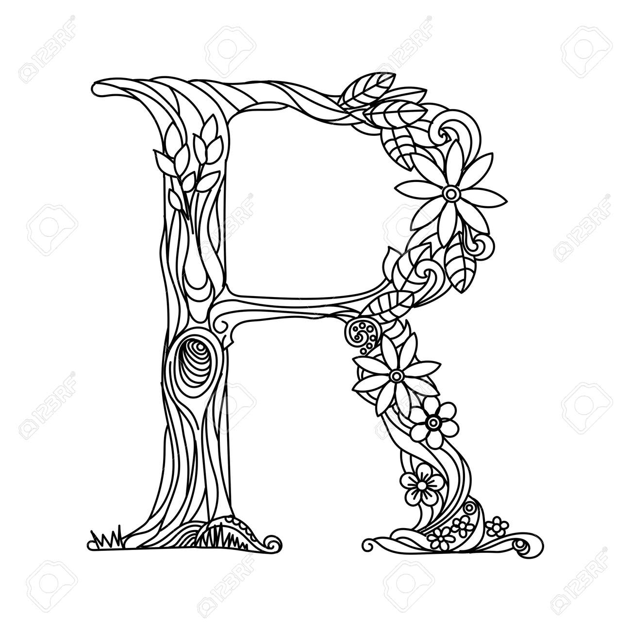 Floral Alphabet Letter Coloring Book For Adults Illustration ...