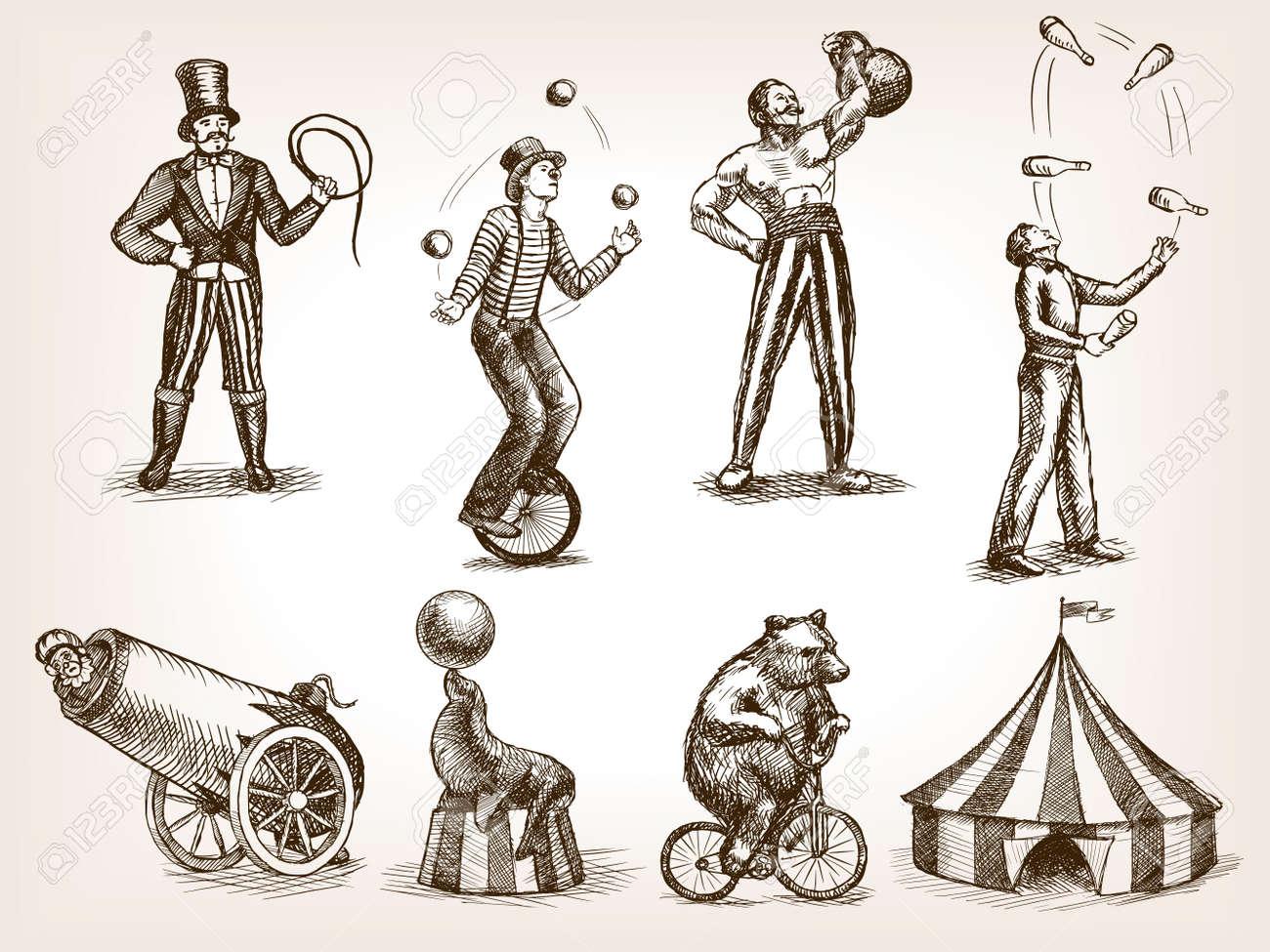 Retro circus performance set sketch style illustration. Old hengraving..