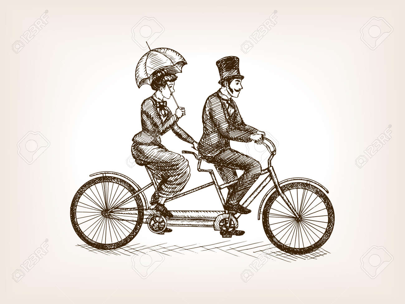 Vintage lady and gentleman ride tandem bicycle sketch style vector illustration. Old engraving imitation. - 59845193